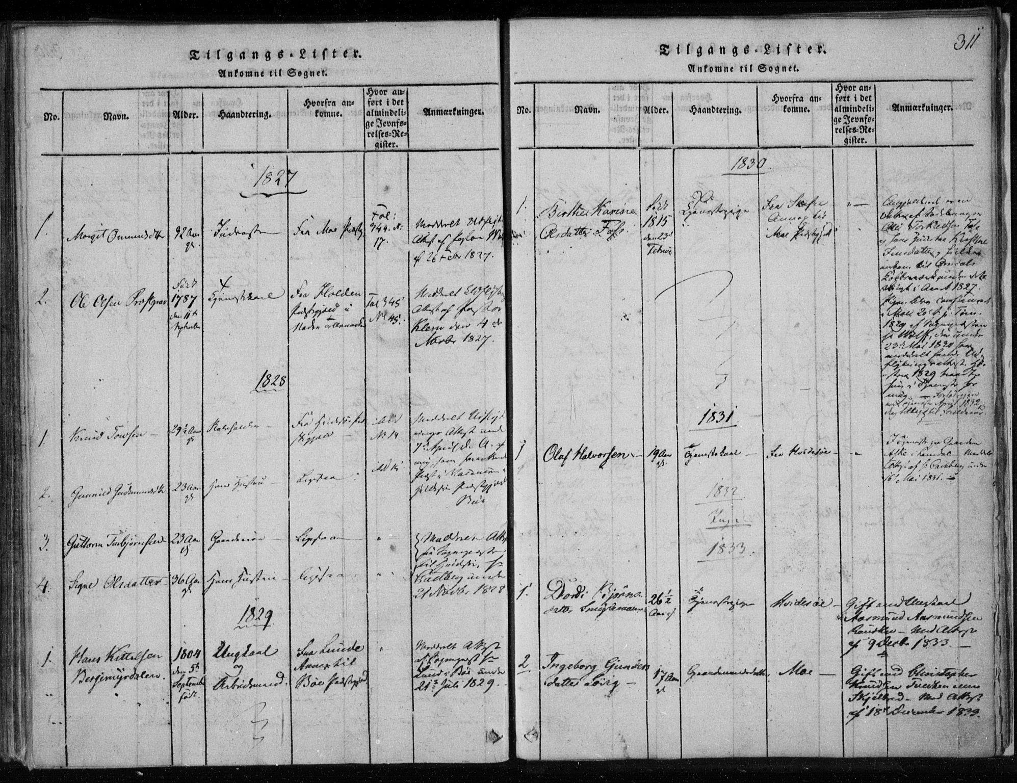 SAKO, Lårdal kirkebøker, F/Fa/L0005: Ministerialbok nr. I 5, 1815-1860, s. 311