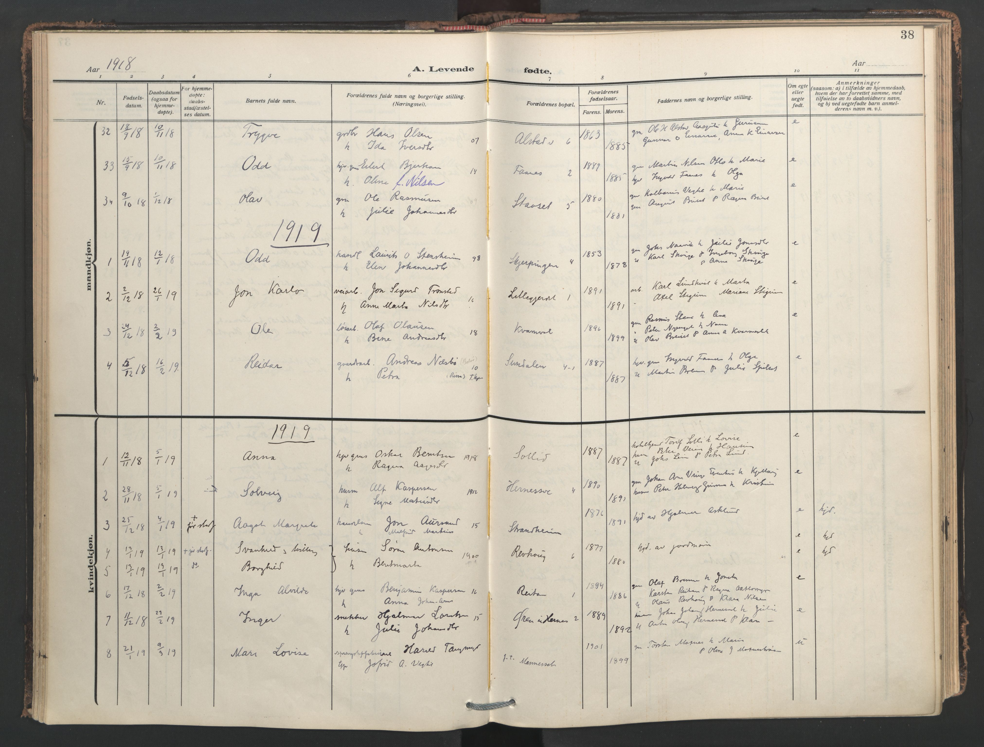 SAT, Ministerialprotokoller, klokkerbøker og fødselsregistre - Nord-Trøndelag, 713/L0123: Ministerialbok nr. 713A12, 1911-1925, s. 38