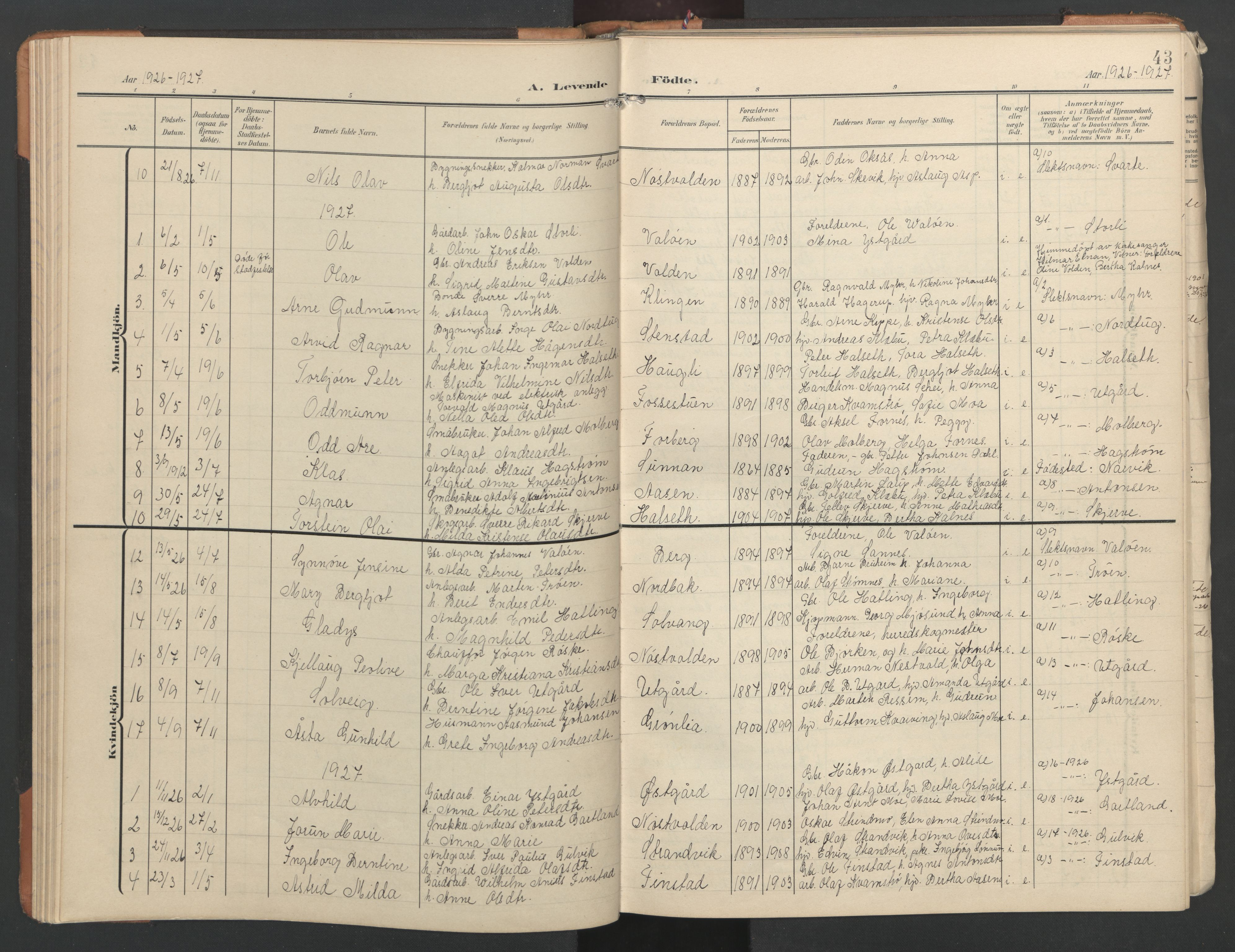 SAT, Ministerialprotokoller, klokkerbøker og fødselsregistre - Nord-Trøndelag, 746/L0455: Klokkerbok nr. 746C01, 1908-1933, s. 43