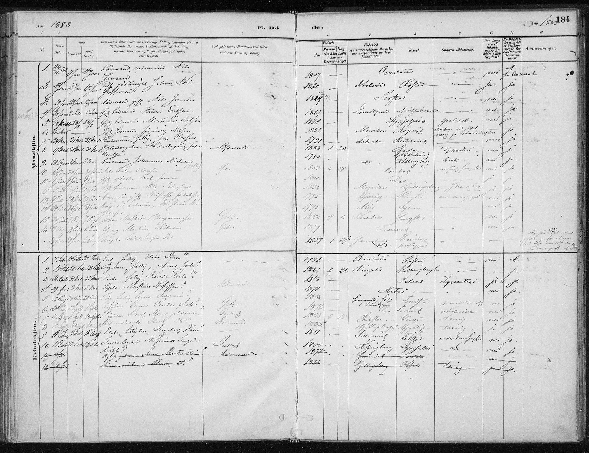 SAT, Ministerialprotokoller, klokkerbøker og fødselsregistre - Nord-Trøndelag, 701/L0010: Ministerialbok nr. 701A10, 1883-1899, s. 184