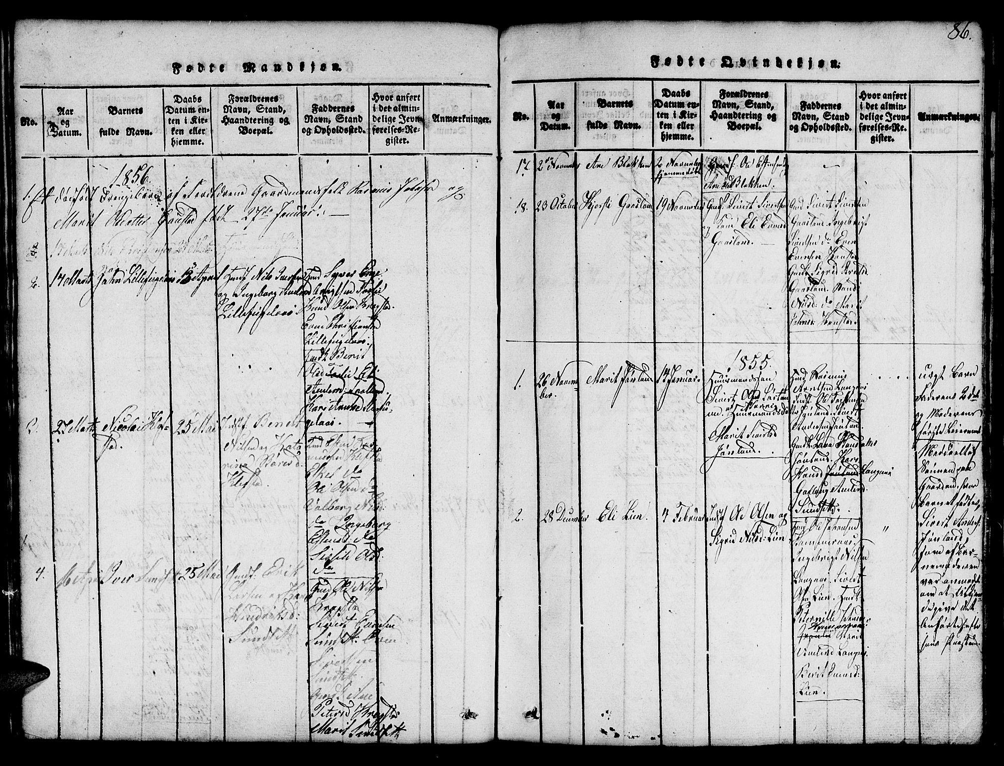 SAT, Ministerialprotokoller, klokkerbøker og fødselsregistre - Sør-Trøndelag, 694/L1130: Klokkerbok nr. 694C02, 1816-1857, s. 86