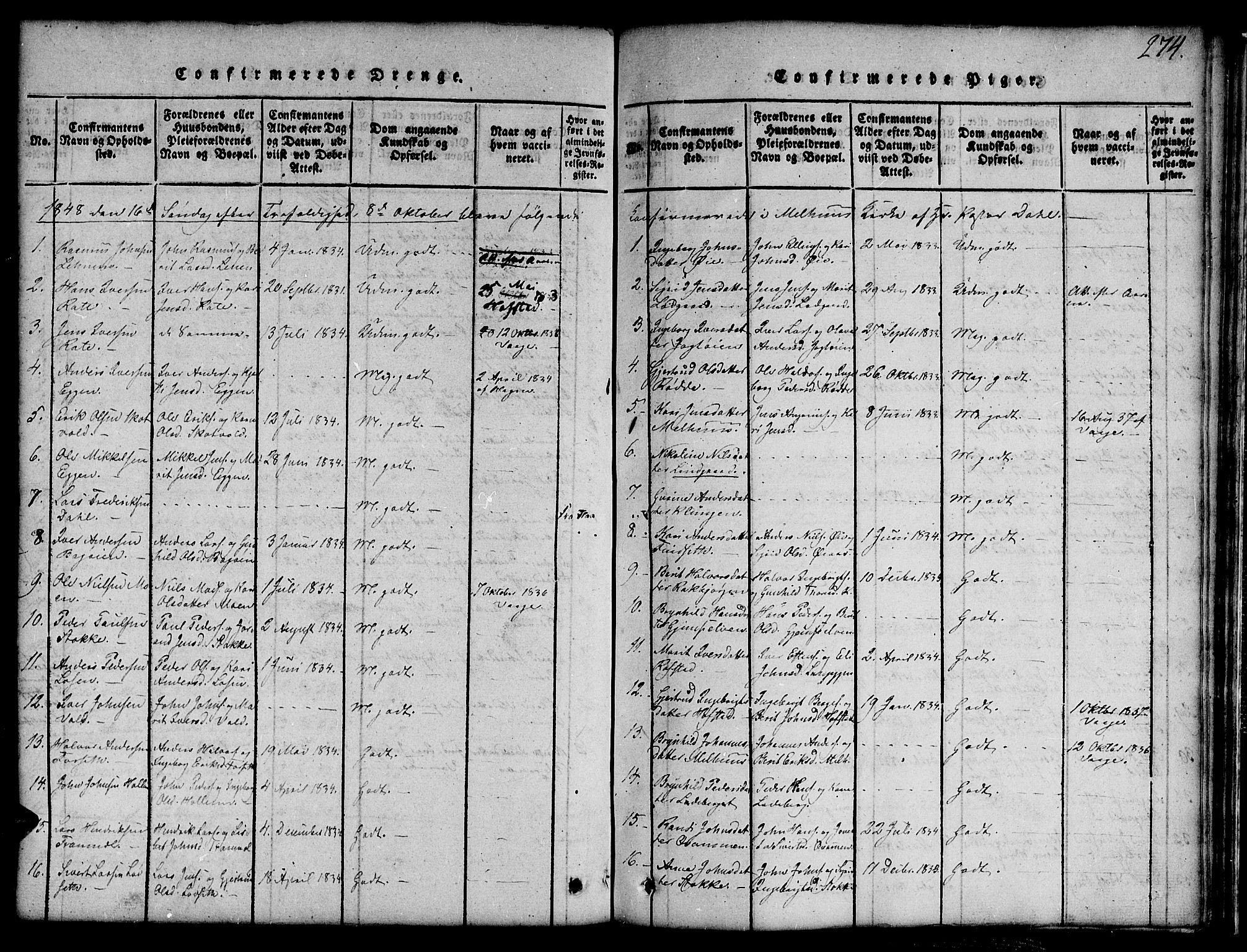 SAT, Ministerialprotokoller, klokkerbøker og fødselsregistre - Sør-Trøndelag, 691/L1092: Klokkerbok nr. 691C03, 1816-1852, s. 274