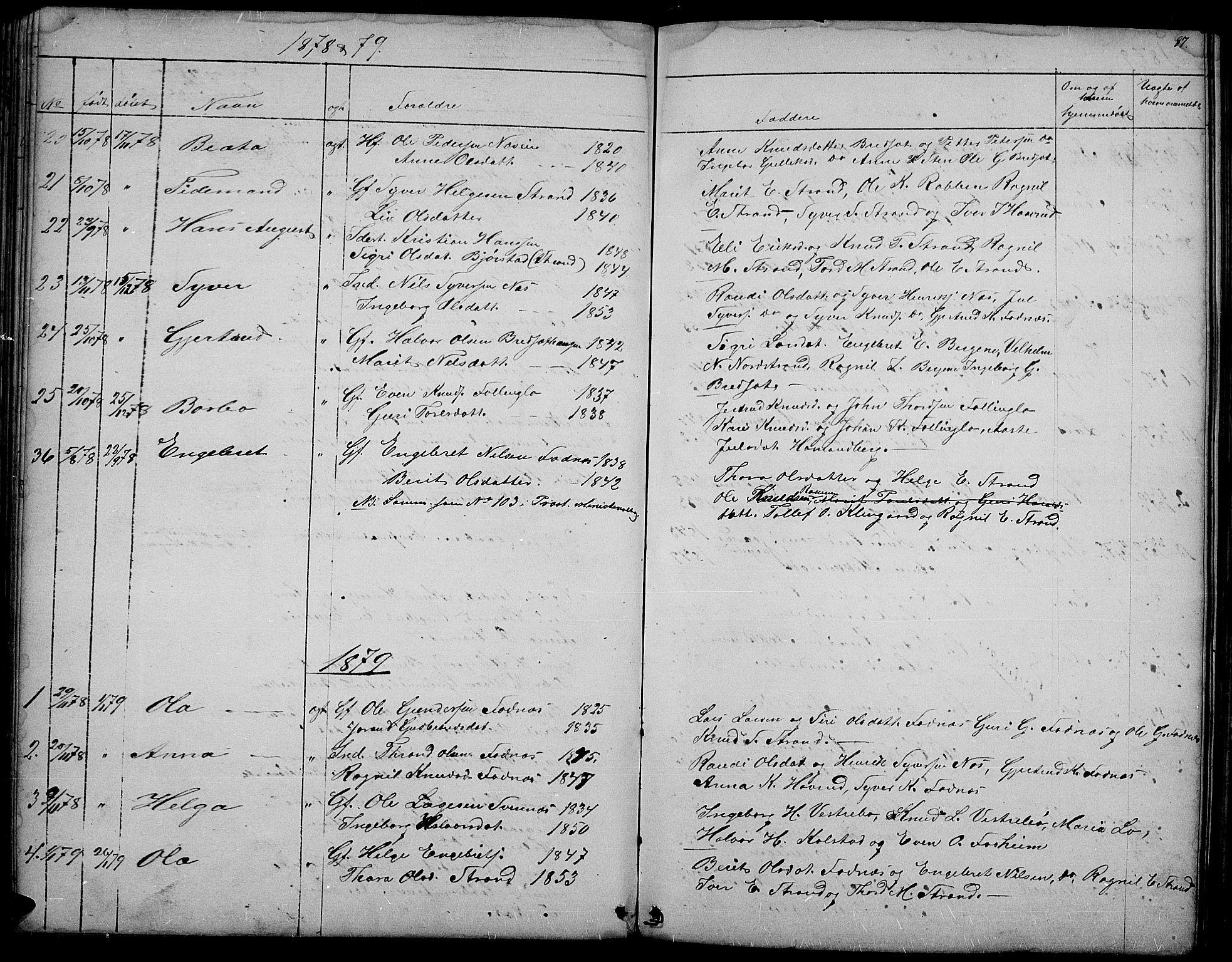 SAH, Nord-Aurdal prestekontor, Klokkerbok nr. 3, 1842-1882, s. 87