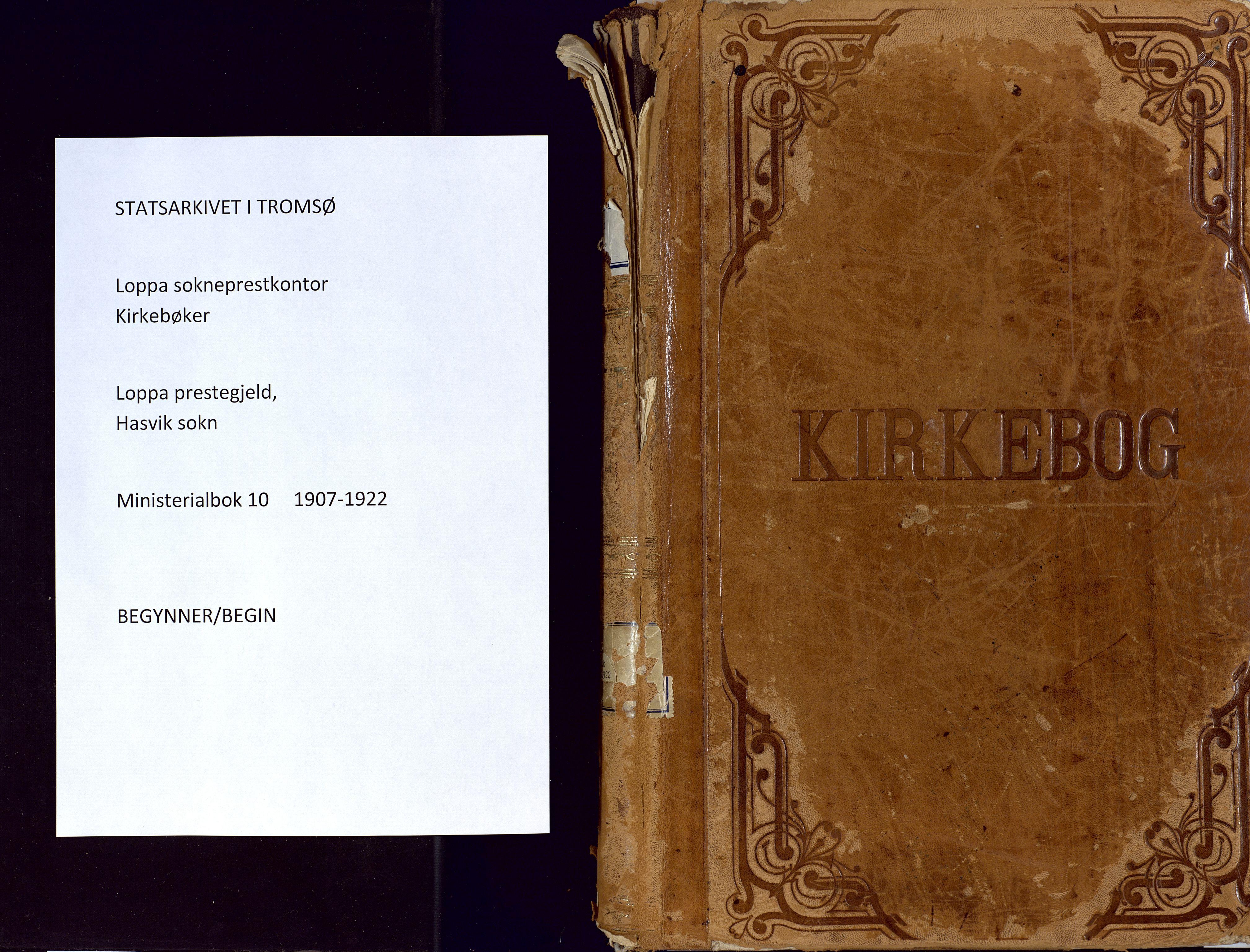 SATØ, Loppa sokneprestkontor, H/Ha/L0010kirke: Ministerialbok nr. 10, 1907-1922