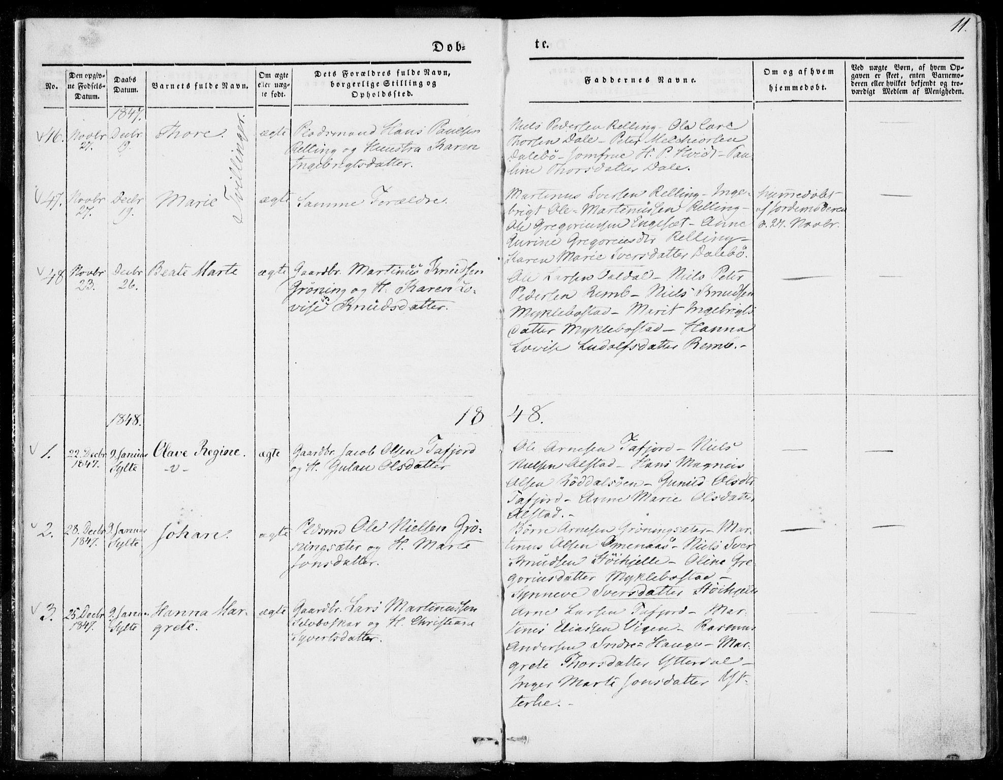 SAT, Ministerialprotokoller, klokkerbøker og fødselsregistre - Møre og Romsdal, 519/L0249: Ministerialbok nr. 519A08, 1846-1868, s. 11