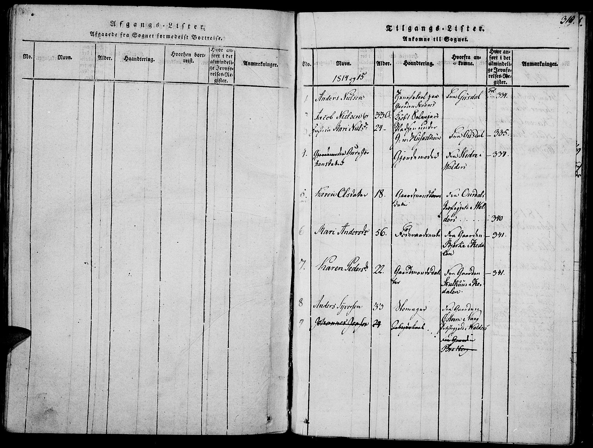 SAH, Biri prestekontor, Ministerialbok nr. 3, 1814-1828, s. 310