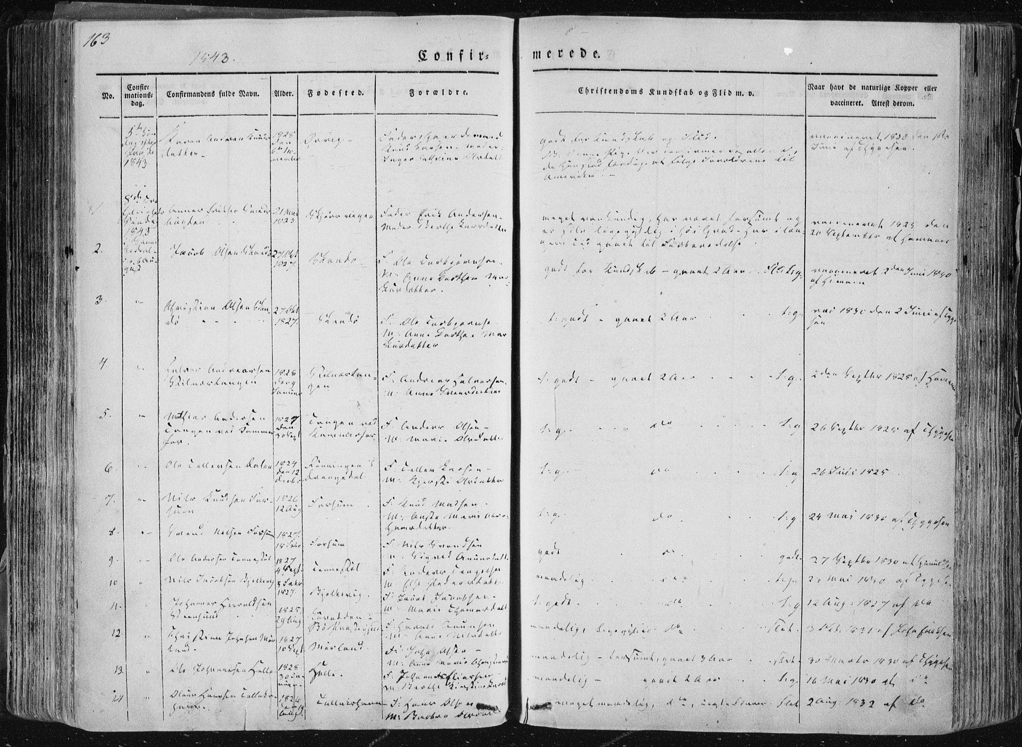SAKO, Sannidal kirkebøker, F/Fa/L0007: Ministerialbok nr. 7, 1831-1854, s. 163