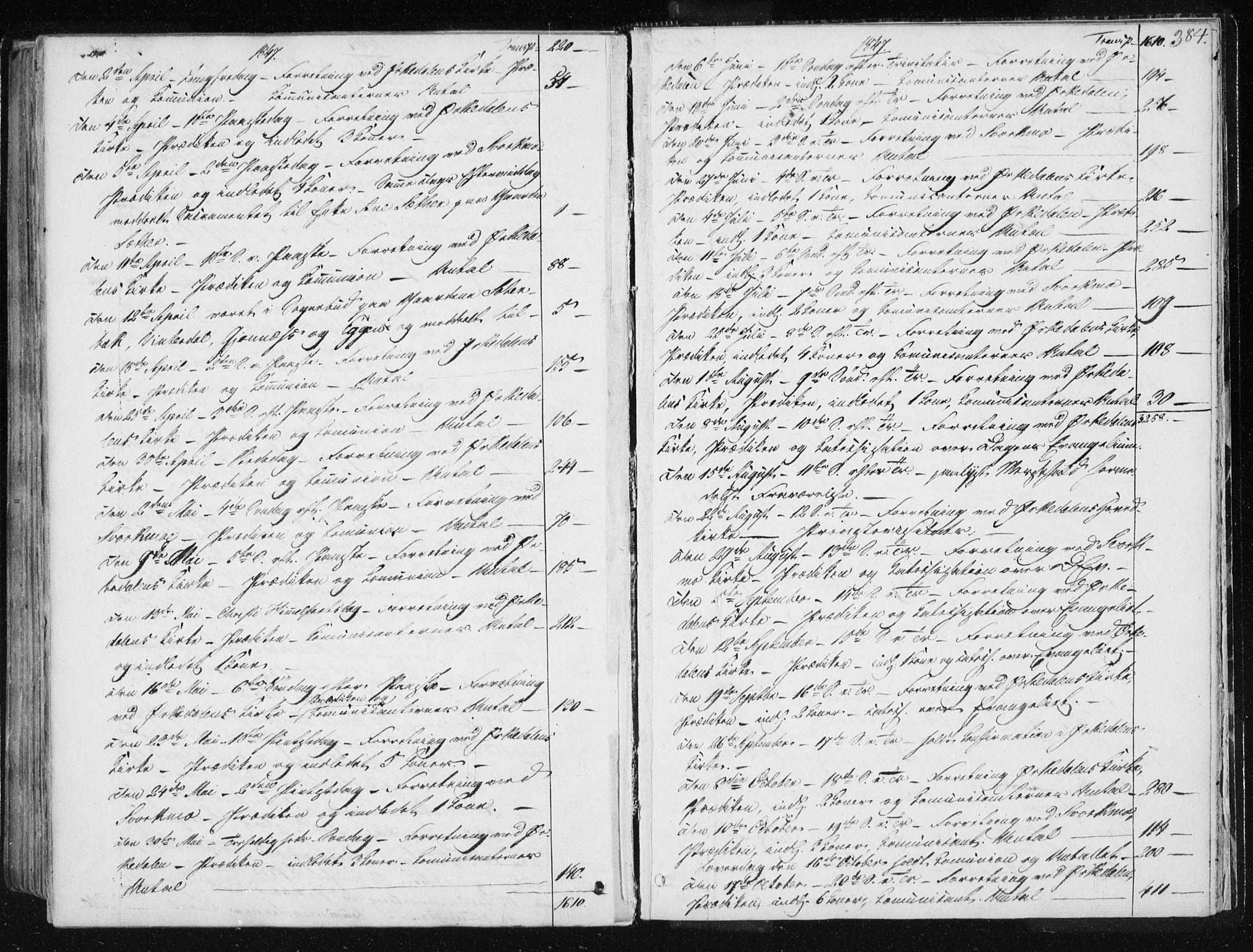 SAT, Ministerialprotokoller, klokkerbøker og fødselsregistre - Sør-Trøndelag, 668/L0805: Ministerialbok nr. 668A05, 1840-1853, s. 384