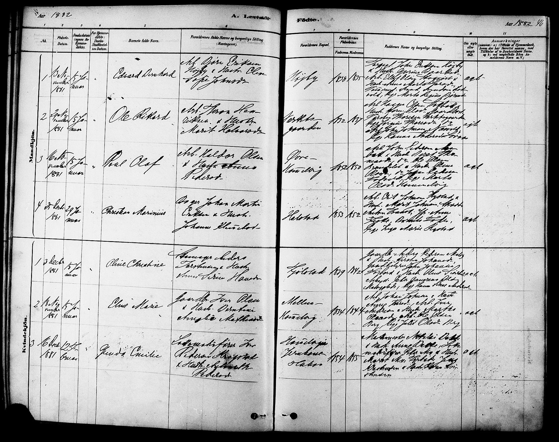 SAT, Ministerialprotokoller, klokkerbøker og fødselsregistre - Sør-Trøndelag, 616/L0410: Ministerialbok nr. 616A07, 1878-1893, s. 46