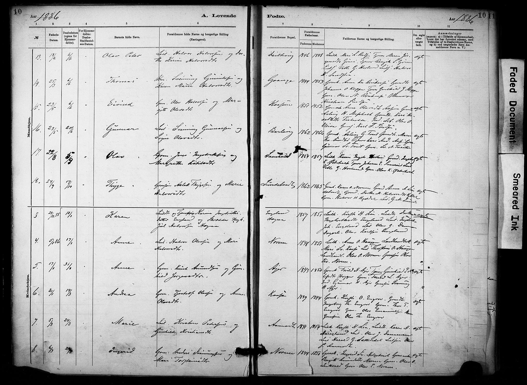 SAKO, Lunde kirkebøker, F/Fa/L0002: Ministerialbok nr. I 2, 1884-1892, s. 10