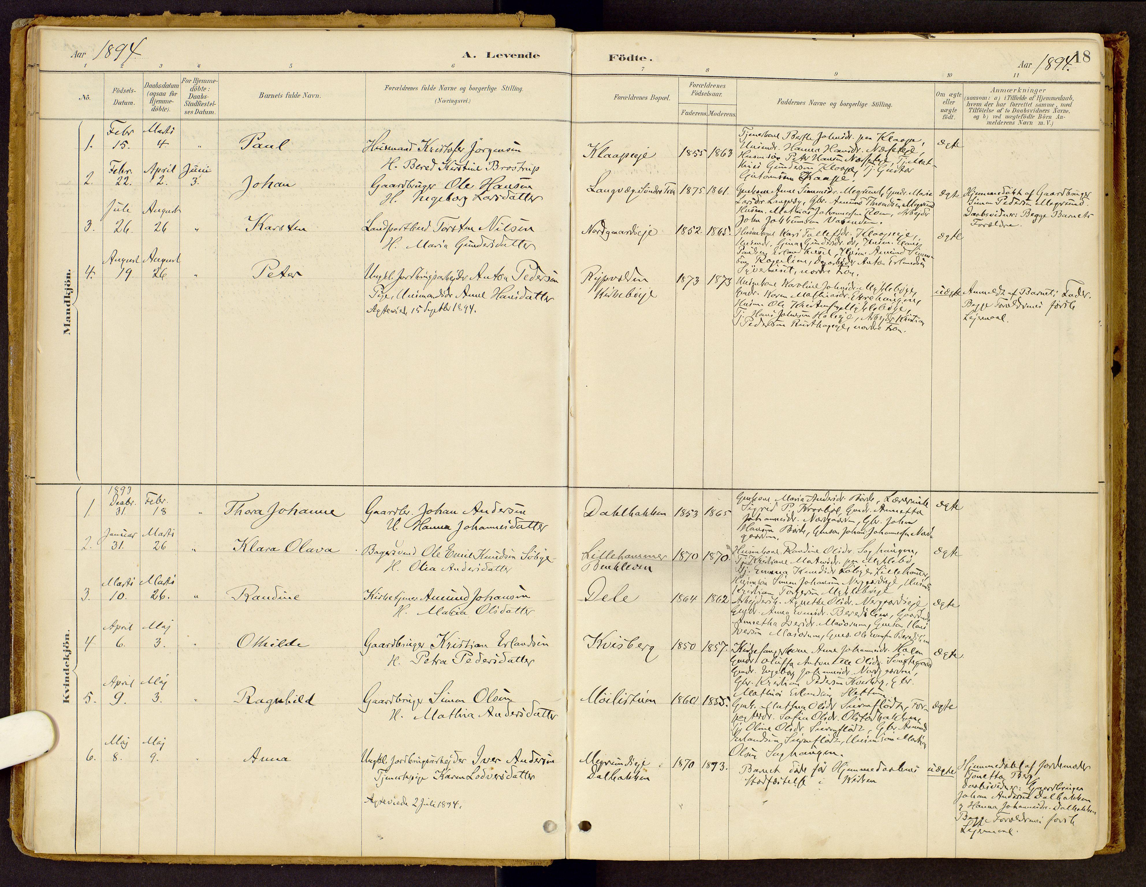 SAH, Vestre Gausdal prestekontor, Ministerialbok nr. 2, 1887-1918, s. 18
