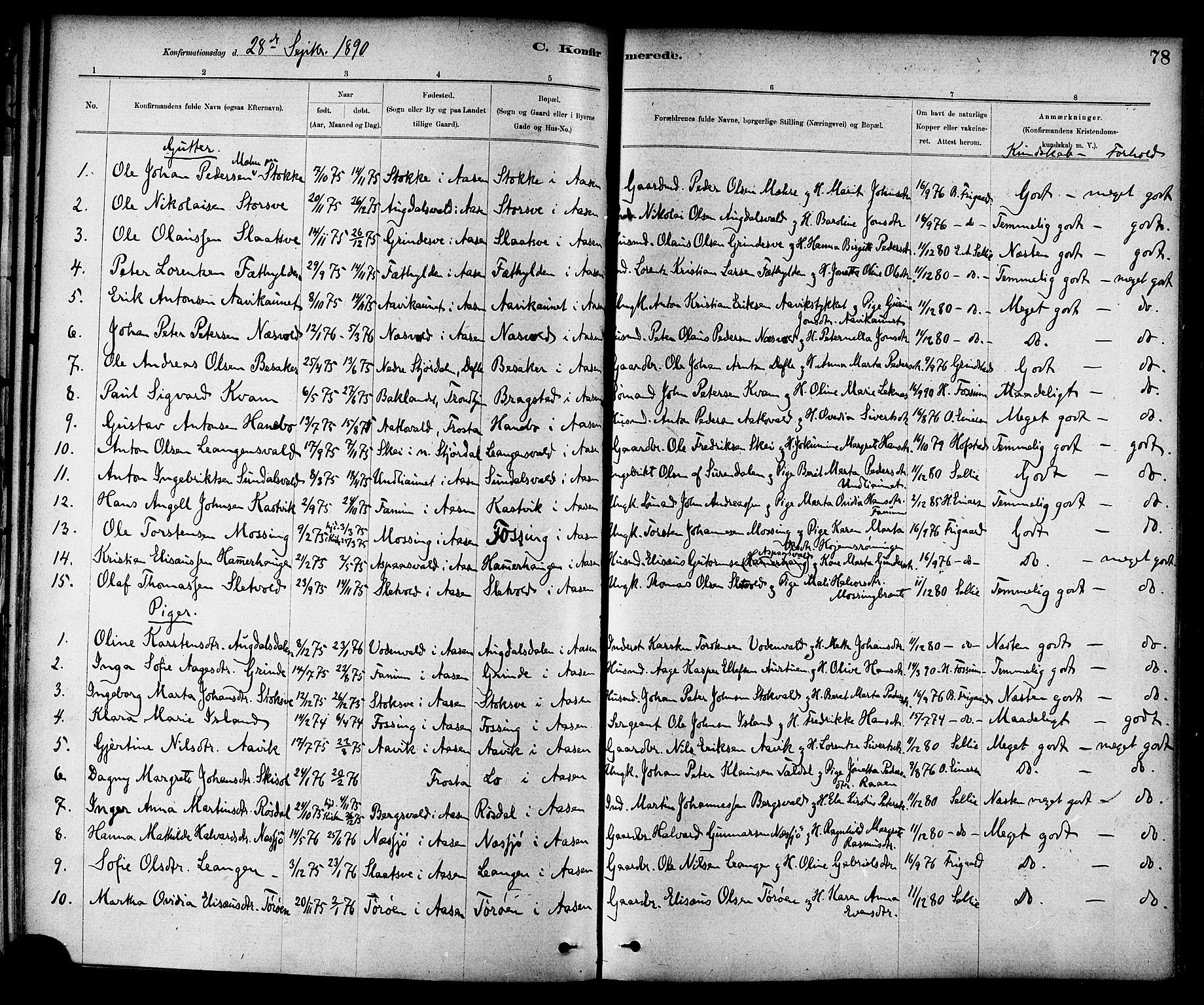 SAT, Ministerialprotokoller, klokkerbøker og fødselsregistre - Nord-Trøndelag, 714/L0130: Ministerialbok nr. 714A01, 1878-1895, s. 78