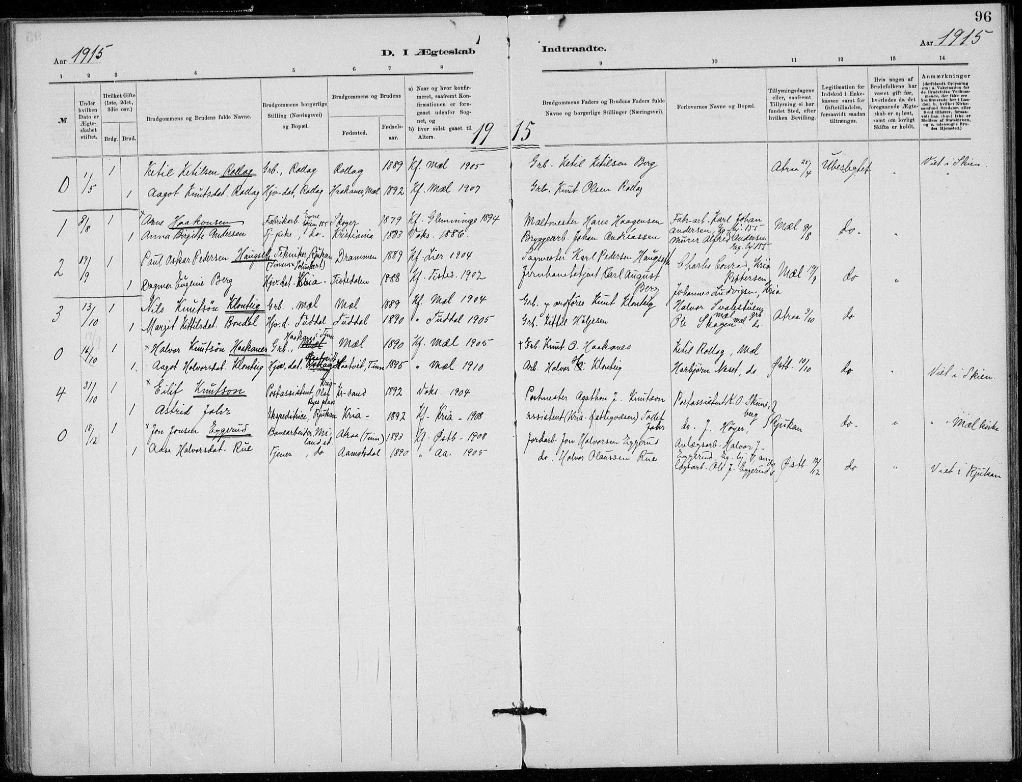 SAKO, Tinn kirkebøker, F/Fb/L0002: Ministerialbok nr. II 2, 1878-1917, s. 96