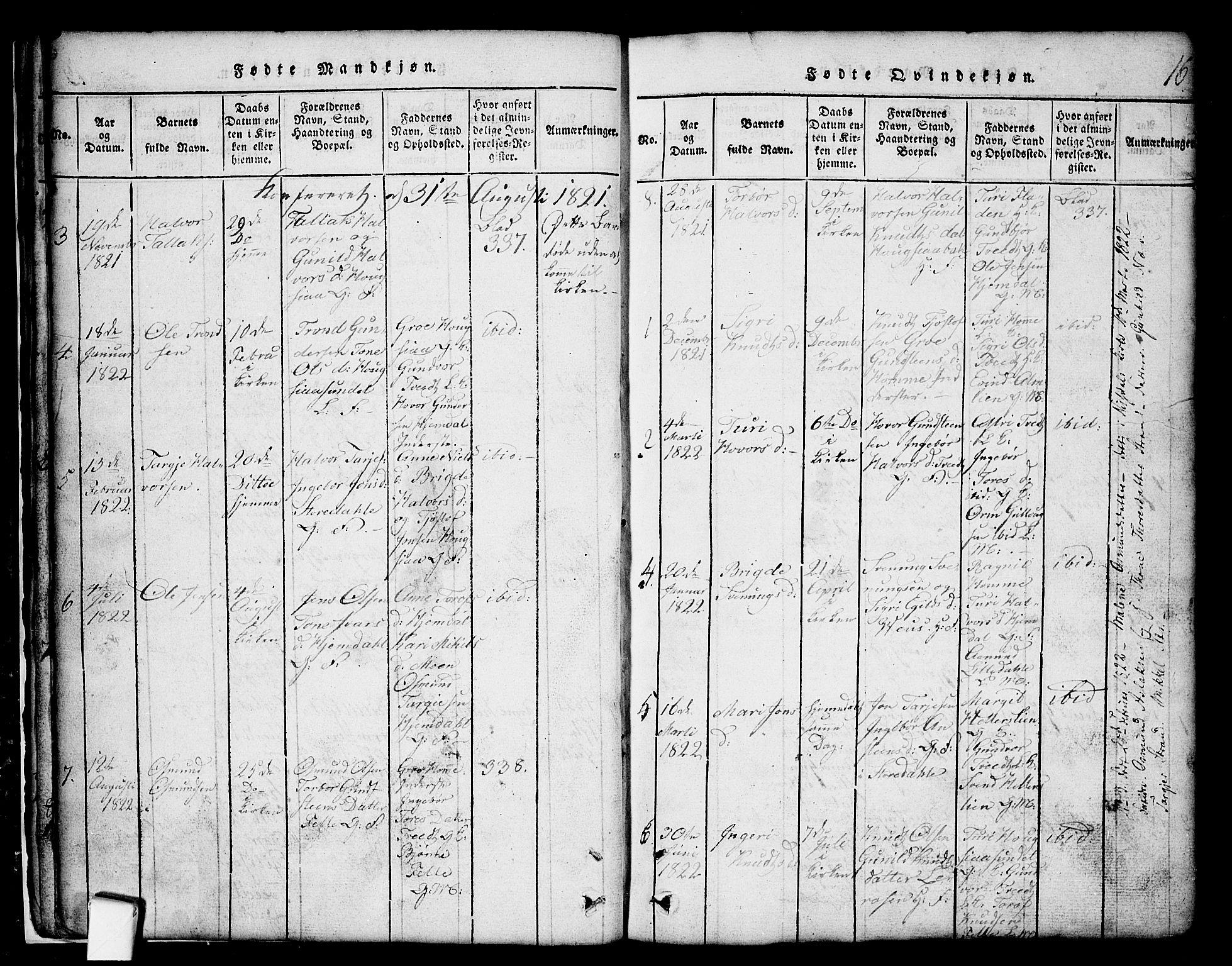 SAKO, Nissedal kirkebøker, G/Gb/L0001: Klokkerbok nr. II 1, 1814-1862, s. 16