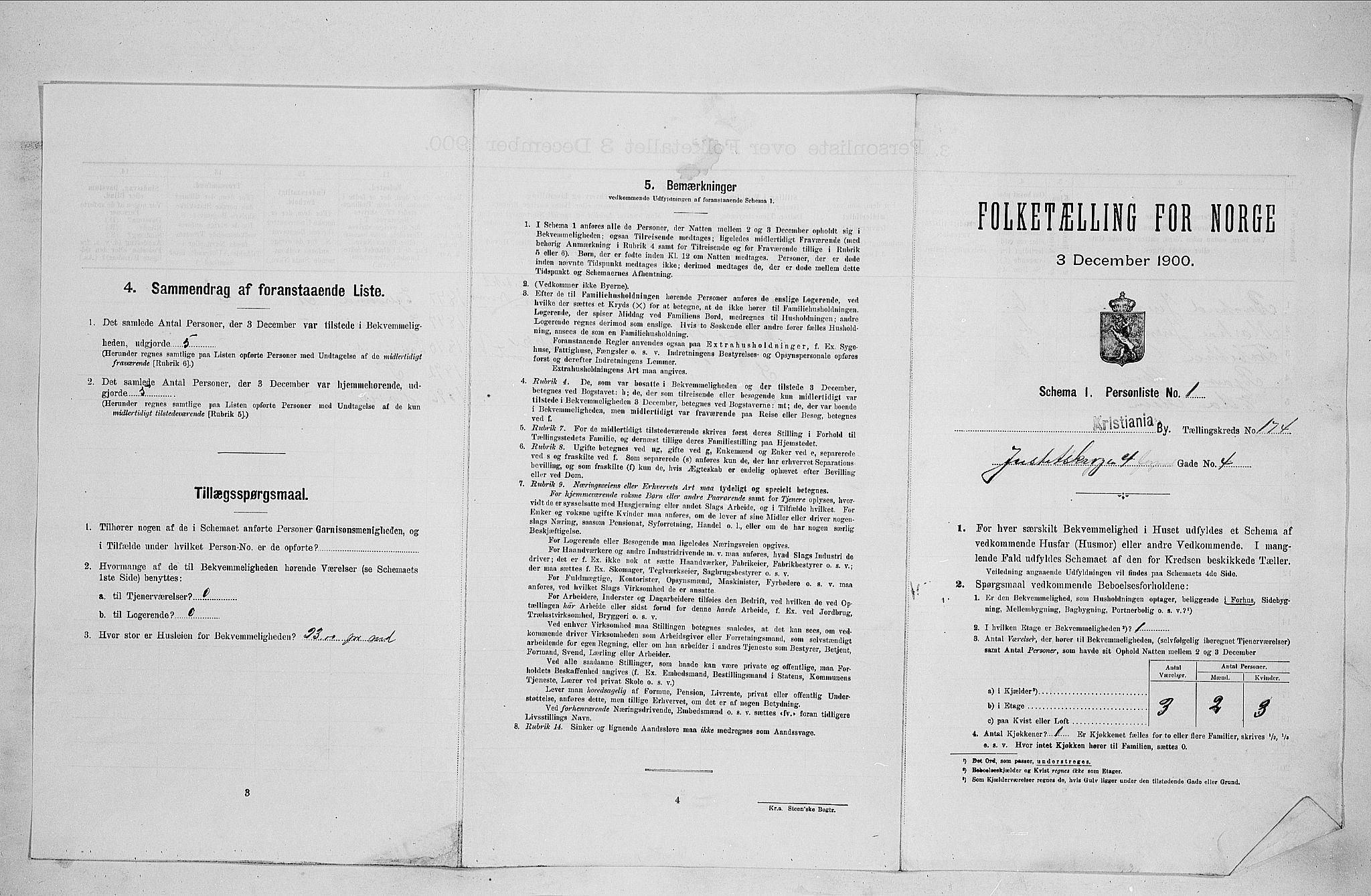 SAO, Folketelling 1900 for 0301 Kristiania kjøpstad, 1900, s. 44519