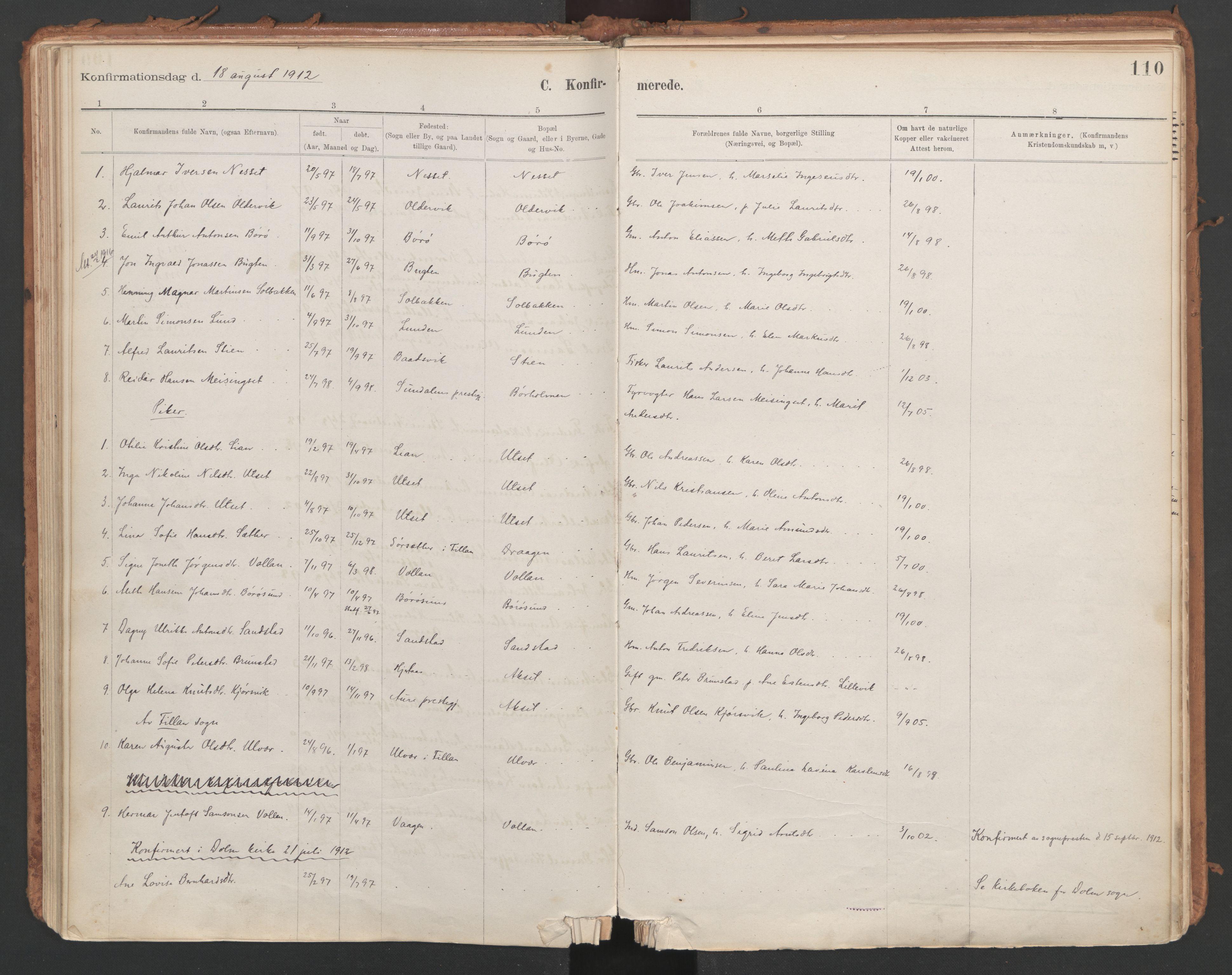 SAT, Ministerialprotokoller, klokkerbøker og fødselsregistre - Sør-Trøndelag, 639/L0572: Ministerialbok nr. 639A01, 1890-1920, s. 110