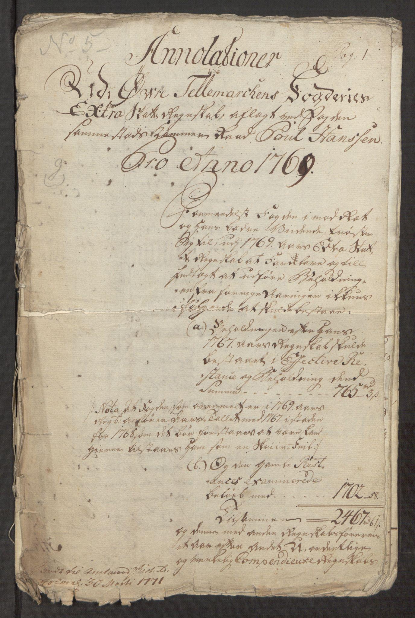 RA, Rentekammeret inntil 1814, Reviderte regnskaper, Fogderegnskap, R38/L2293: Ekstraskatten Øvre Telemark, 1762-1770, s. 408