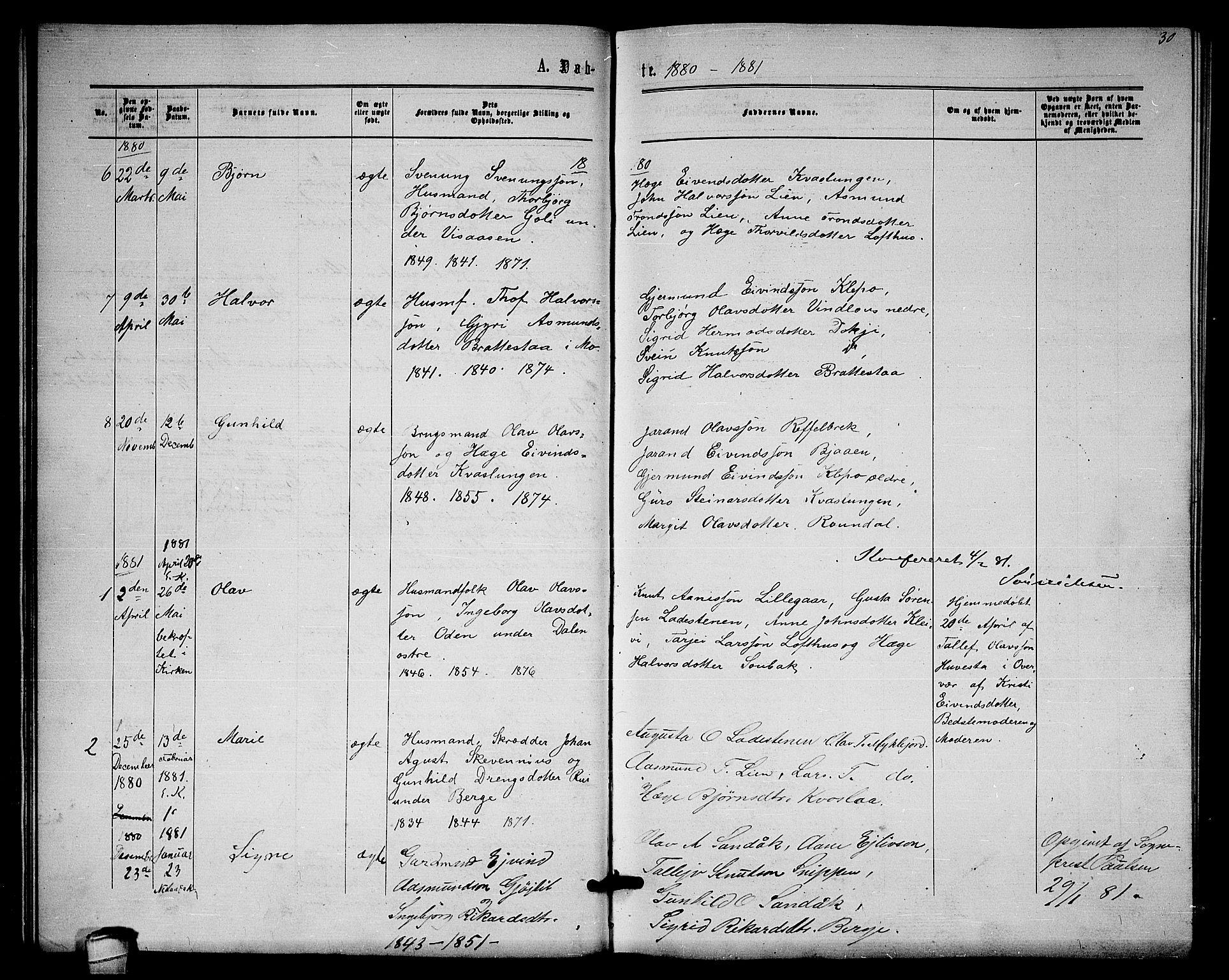 SAKO, Lårdal kirkebøker, G/Gb/L0002: Klokkerbok nr. II 2, 1865-1888, s. 30