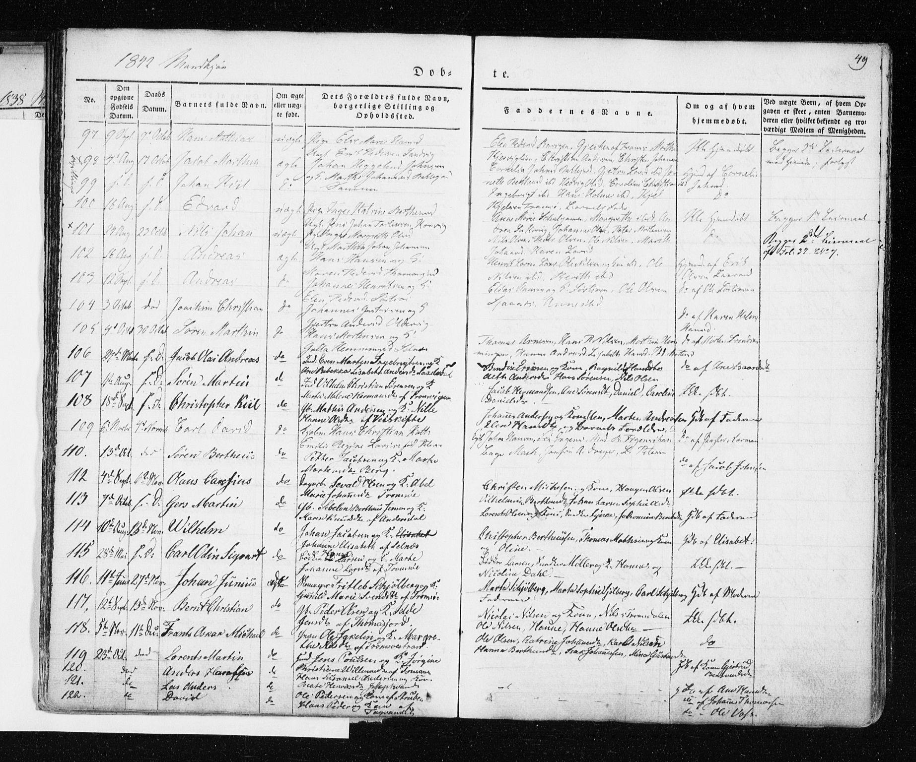 SATØ, Tromsø sokneprestkontor/stiftsprosti/domprosti, G/Ga/L0009kirke: Ministerialbok nr. 9, 1837-1847, s. 49