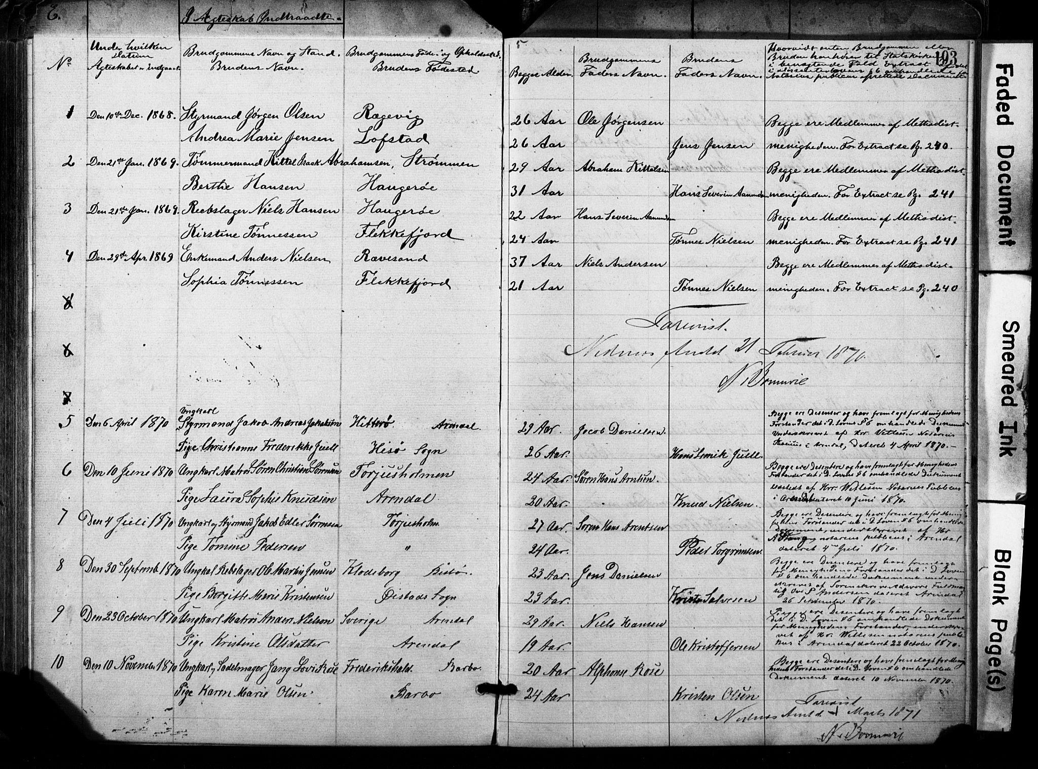 SAK, Metodistmenigheten, Arendal, F/Fa/L0001: Dissenterprotokoll nr. F-2, 1867-1879, s. 193