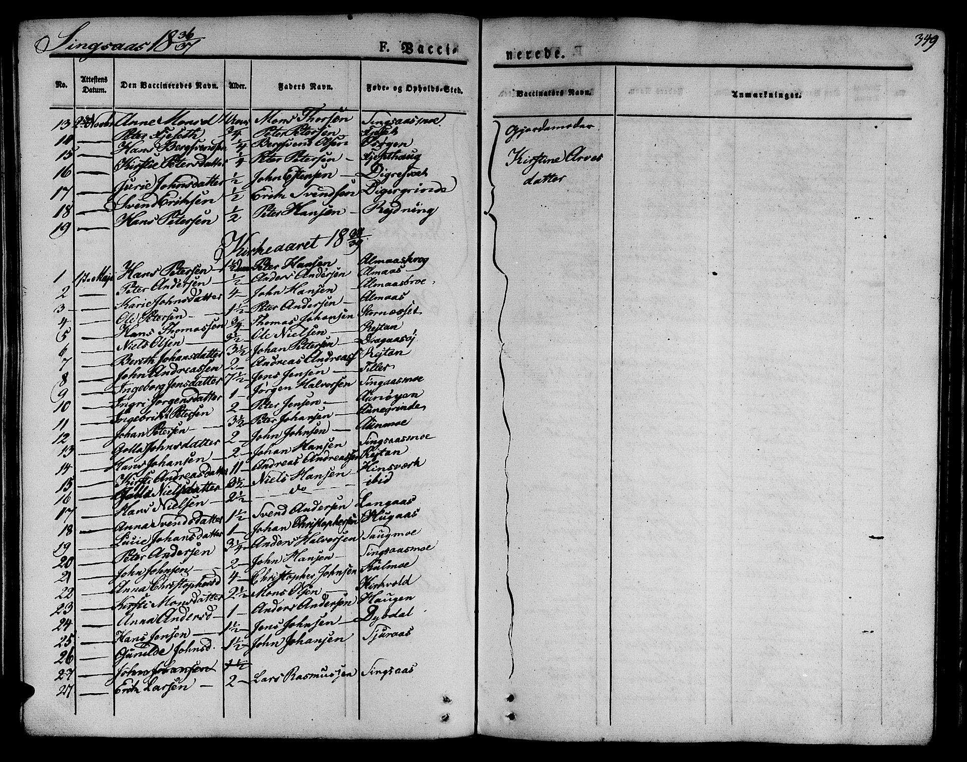 SAT, Ministerialprotokoller, klokkerbøker og fødselsregistre - Sør-Trøndelag, 685/L0961: Ministerialbok nr. 685A05 /2, 1829-1845, s. 349