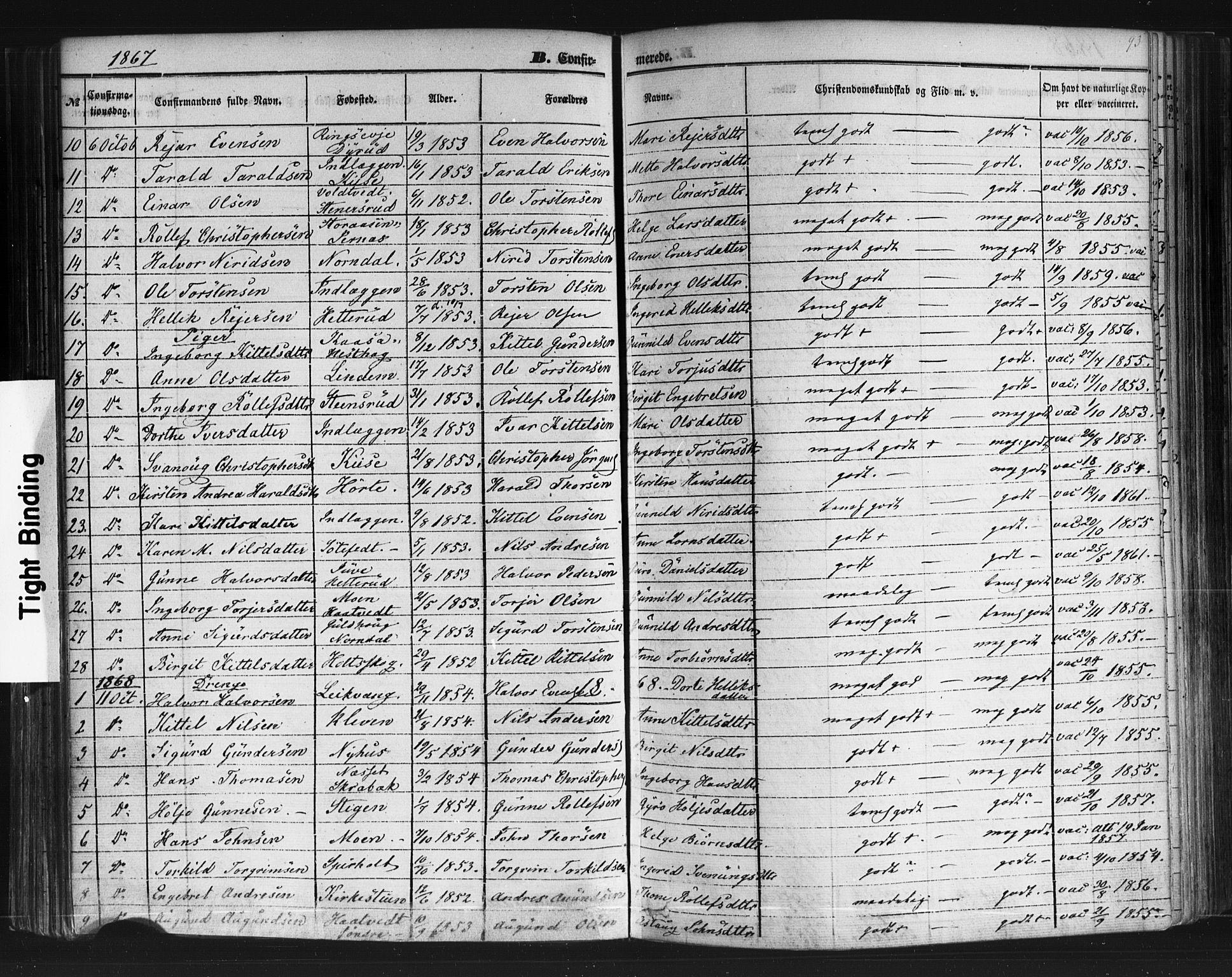 SAKO, Sauherad kirkebøker, F/Fb/L0001: Ministerialbok nr. II 1, 1851-1877, s. 93