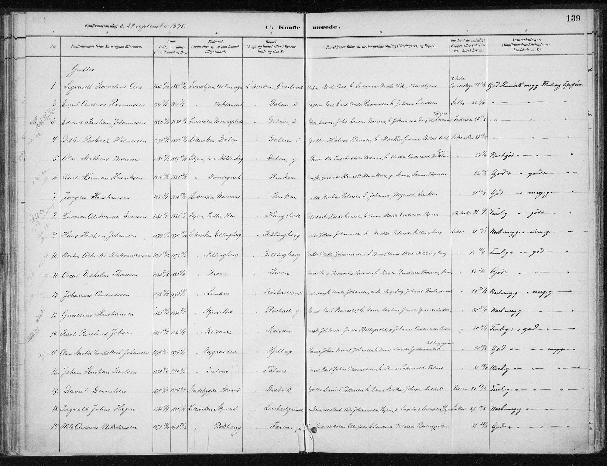 SAT, Ministerialprotokoller, klokkerbøker og fødselsregistre - Nord-Trøndelag, 701/L0010: Ministerialbok nr. 701A10, 1883-1899, s. 139