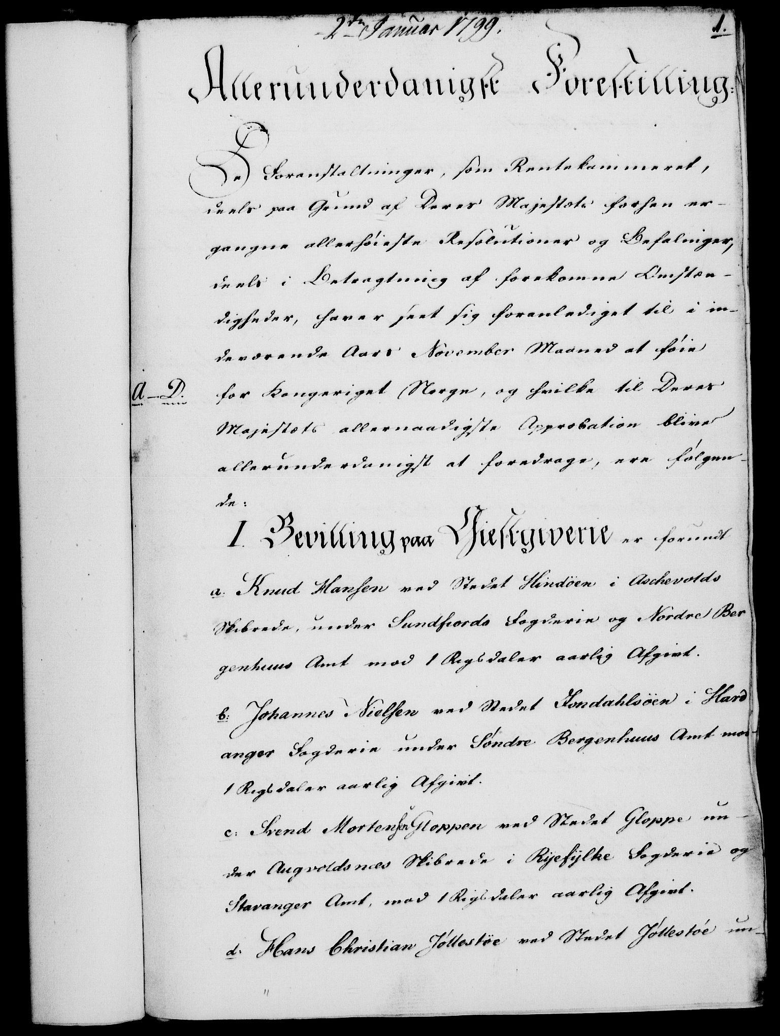 RA, Rentekammeret, Kammerkanselliet, G/Gf/Gfa/L0081: Norsk relasjons- og resolusjonsprotokoll (merket RK 52.81), 1799, s. 27