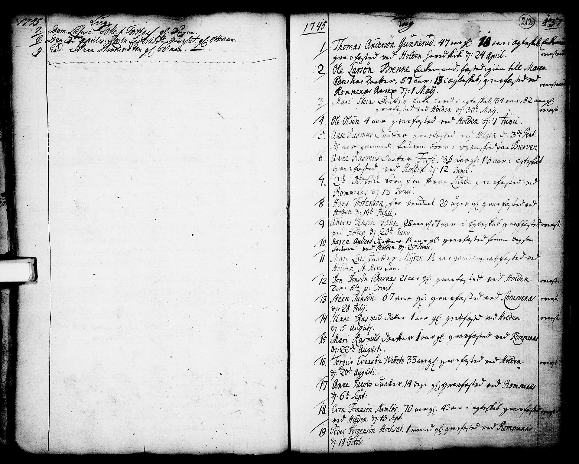 SAKO, Holla kirkebøker, F/Fa/L0001: Ministerialbok nr. 1, 1717-1779, s. 212