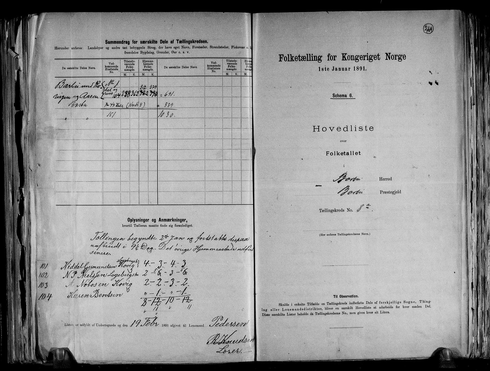 RA, Folketelling 1891 for 0990 Barbu herred, 1891, s. 22