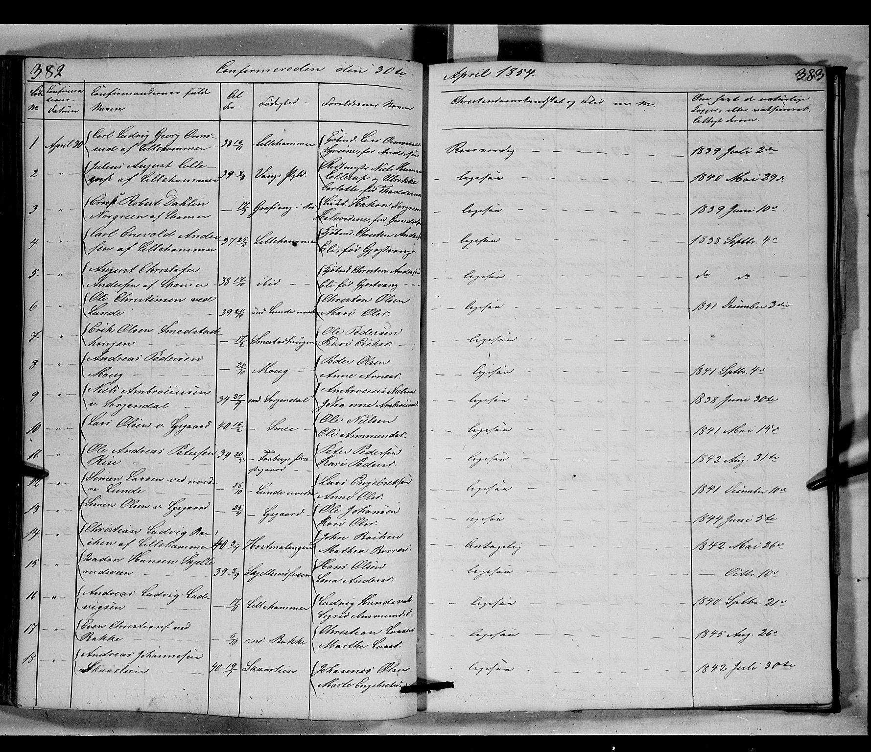 SAH, Fåberg prestekontor, Klokkerbok nr. 6, 1837-1855, s. 382-383