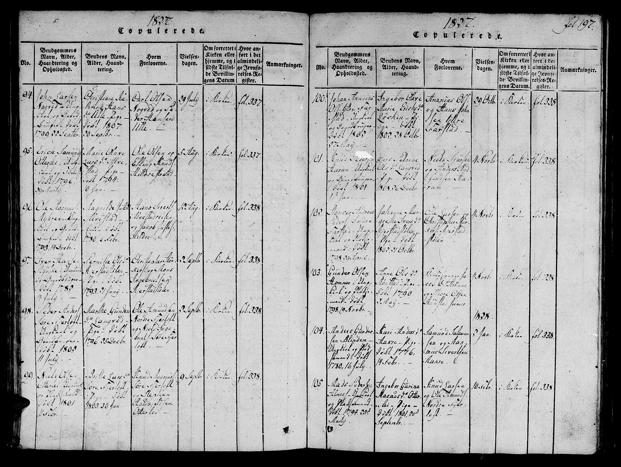 SAT, Ministerialprotokoller, klokkerbøker og fødselsregistre - Møre og Romsdal, 536/L0495: Ministerialbok nr. 536A04, 1818-1847, s. 197