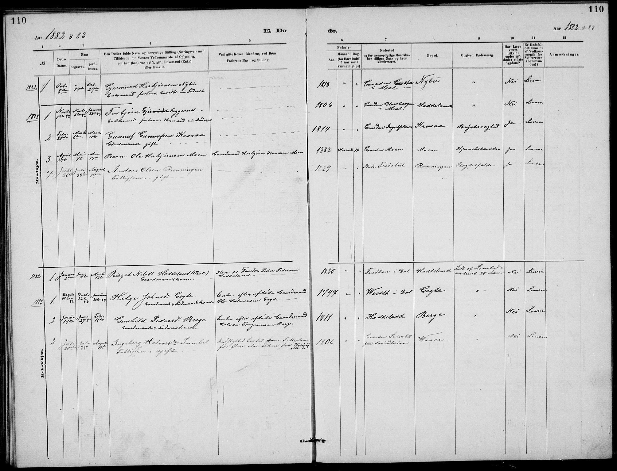 SAKO, Rjukan kirkebøker, G/Ga/L0001: Klokkerbok nr. 1, 1880-1914, s. 110