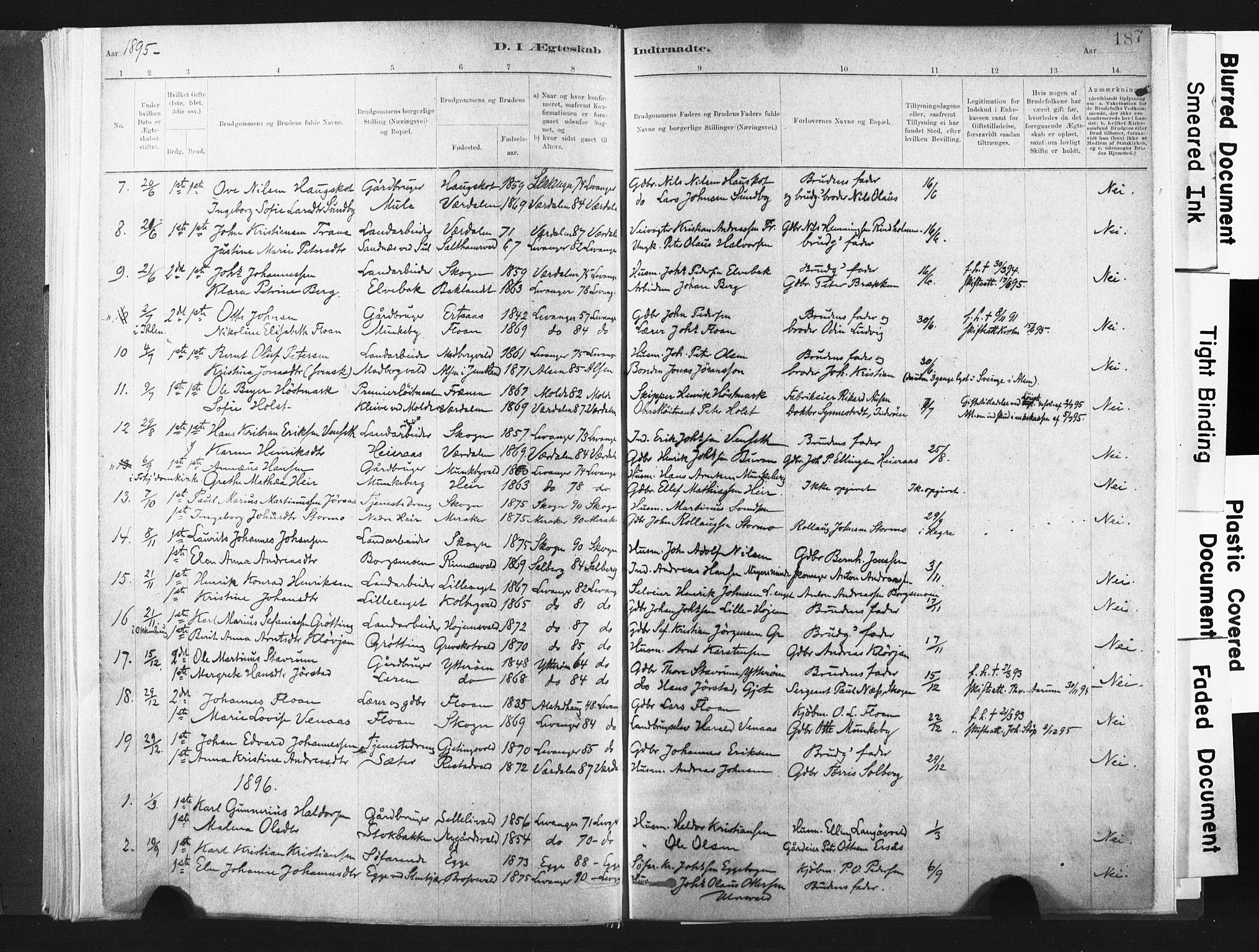 SAT, Ministerialprotokoller, klokkerbøker og fødselsregistre - Nord-Trøndelag, 721/L0207: Ministerialbok nr. 721A02, 1880-1911, s. 187