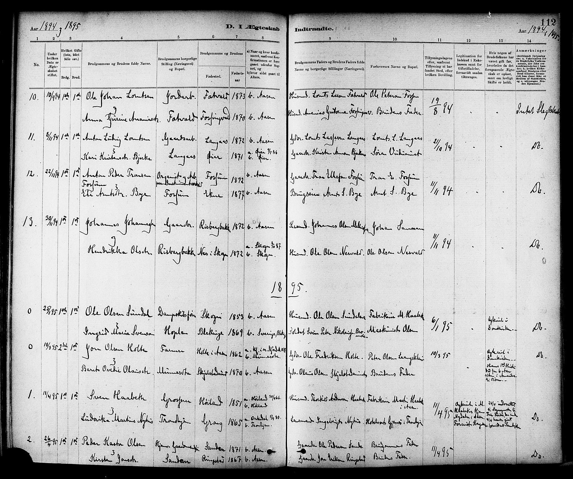 SAT, Ministerialprotokoller, klokkerbøker og fødselsregistre - Nord-Trøndelag, 714/L0130: Ministerialbok nr. 714A01, 1878-1895, s. 112