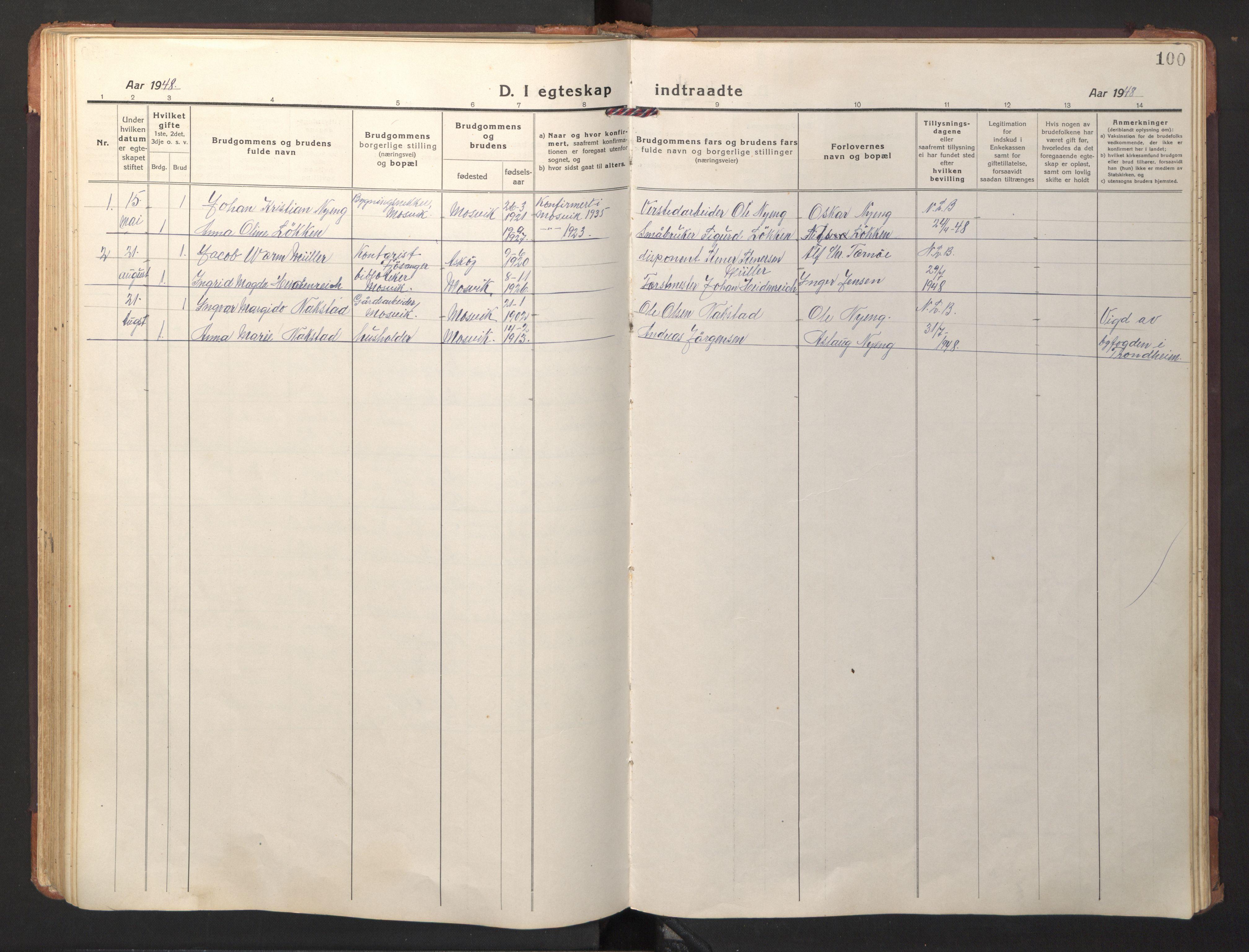 SAT, Ministerialprotokoller, klokkerbøker og fødselsregistre - Nord-Trøndelag, 733/L0328: Klokkerbok nr. 733C03, 1919-1966, s. 100