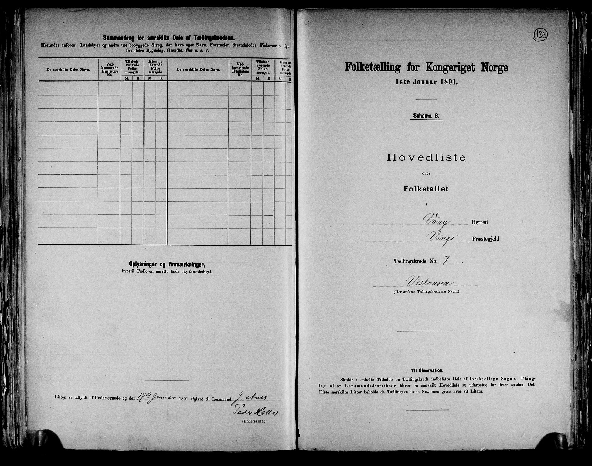 RA, Folketelling 1891 for 0414 Vang herred, 1891, s. 29