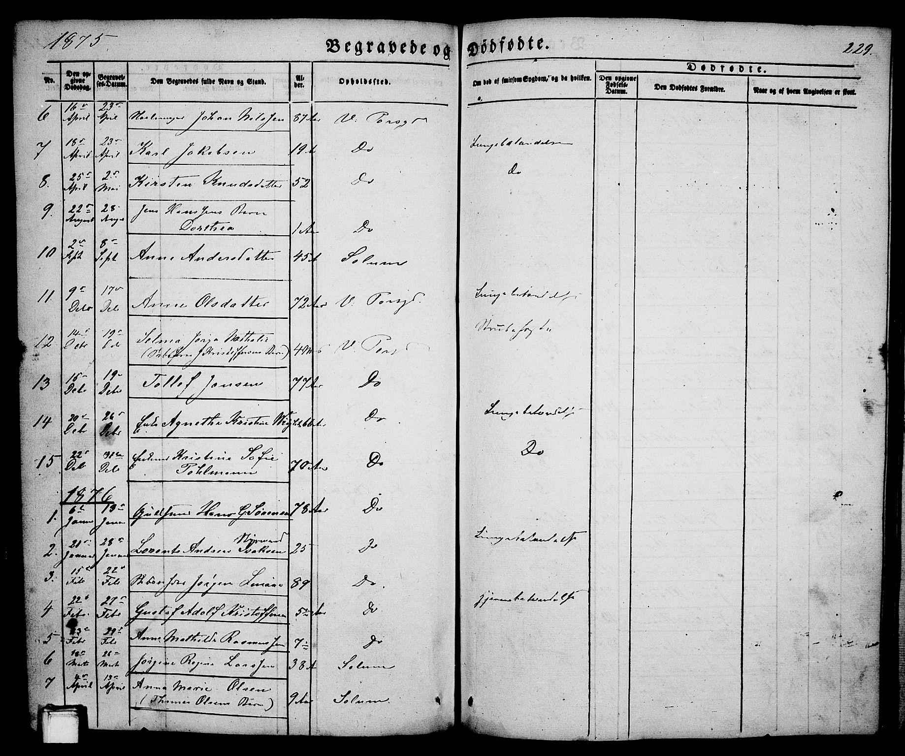 SAKO, Porsgrunn kirkebøker , G/Ga/L0002: Klokkerbok nr. I 2, 1847-1877, s. 229