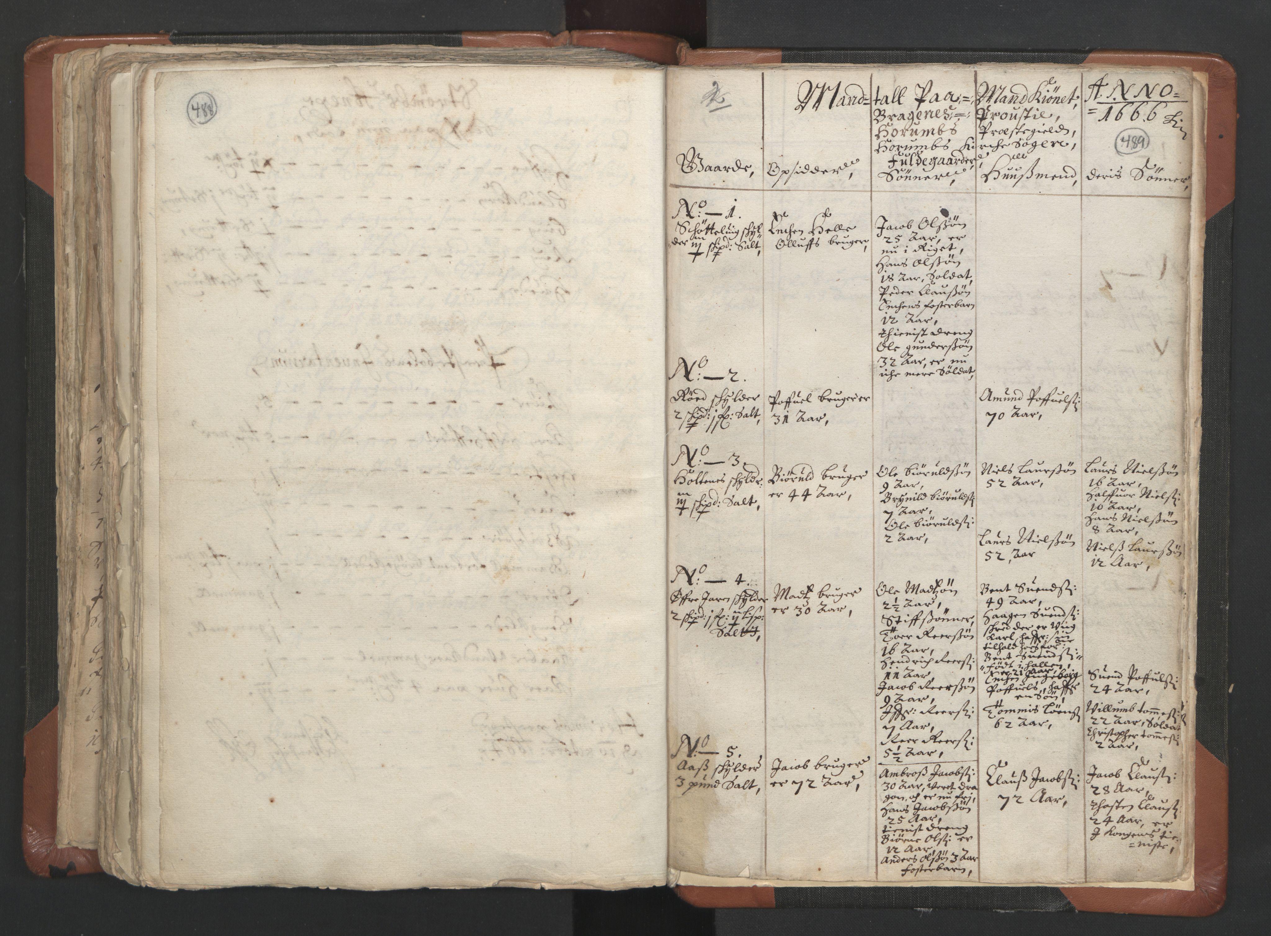 RA, Sogneprestenes manntall 1664-1666, nr. 9: Bragernes prosti, 1664-1666, s. 488-489