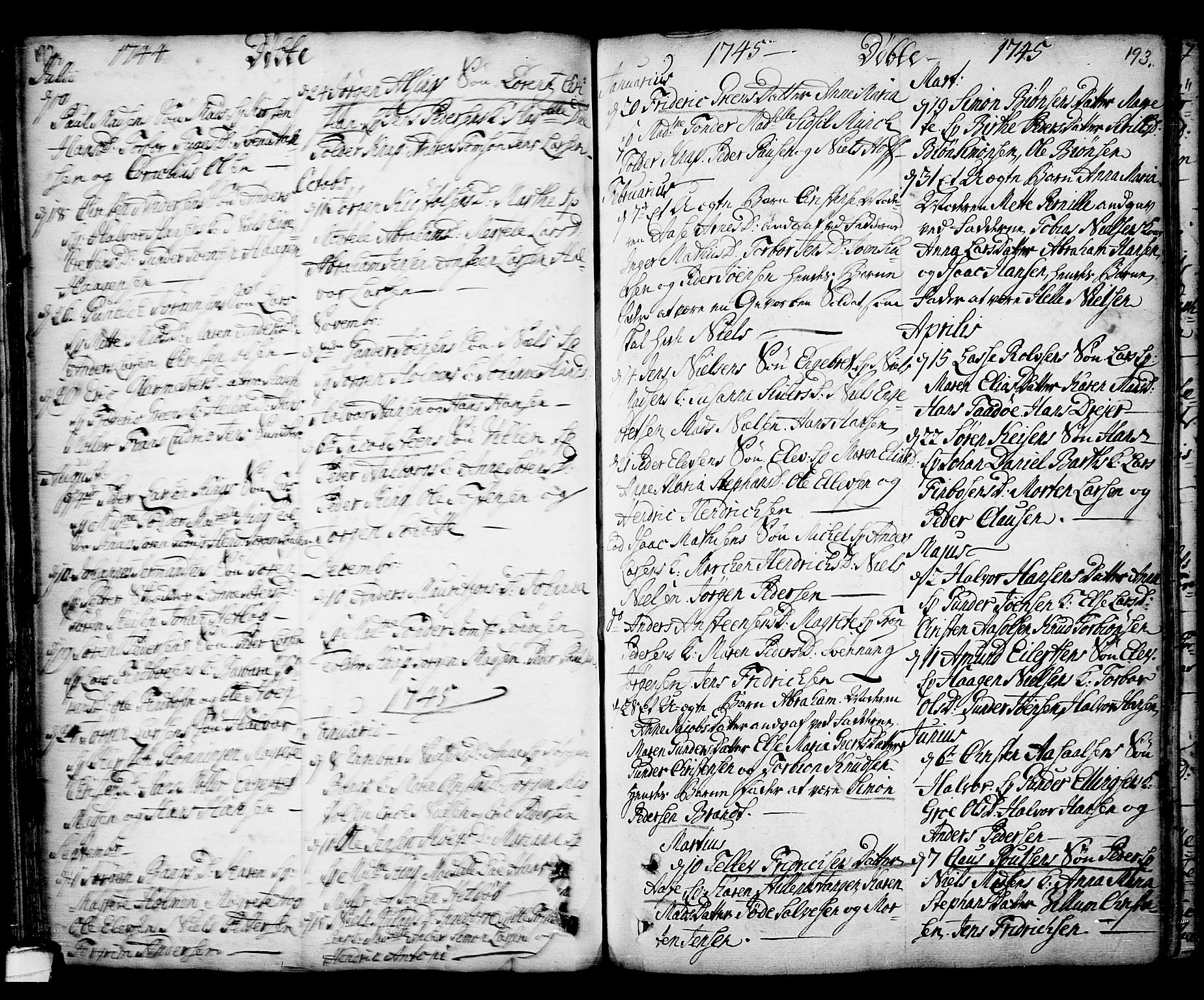 SAKO, Kragerø kirkebøker, F/Fa/L0001: Ministerialbok nr. 1, 1702-1766, s. 192-193