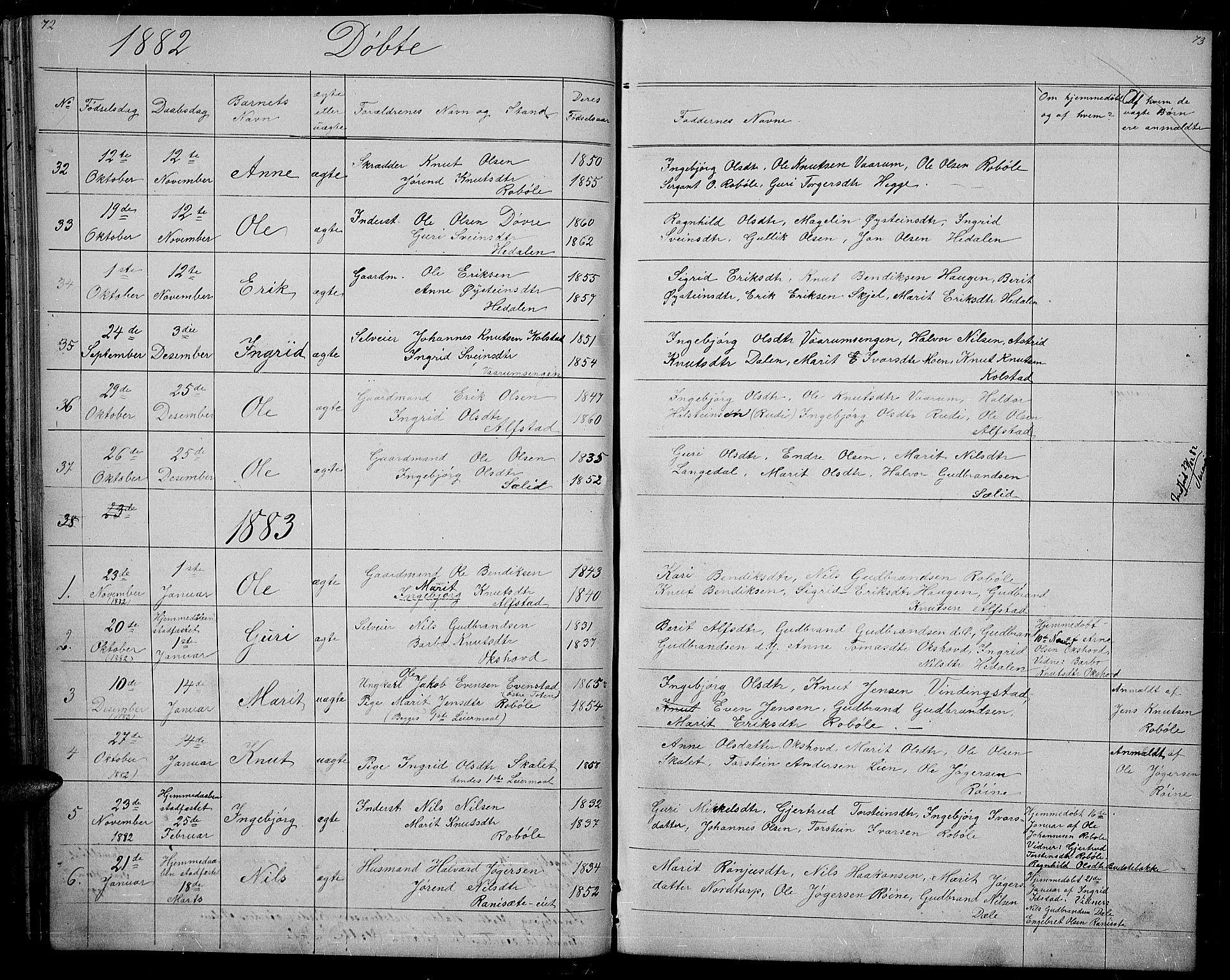 SAH, Øystre Slidre prestekontor, Klokkerbok nr. 1, 1866-1886, s. 72-73
