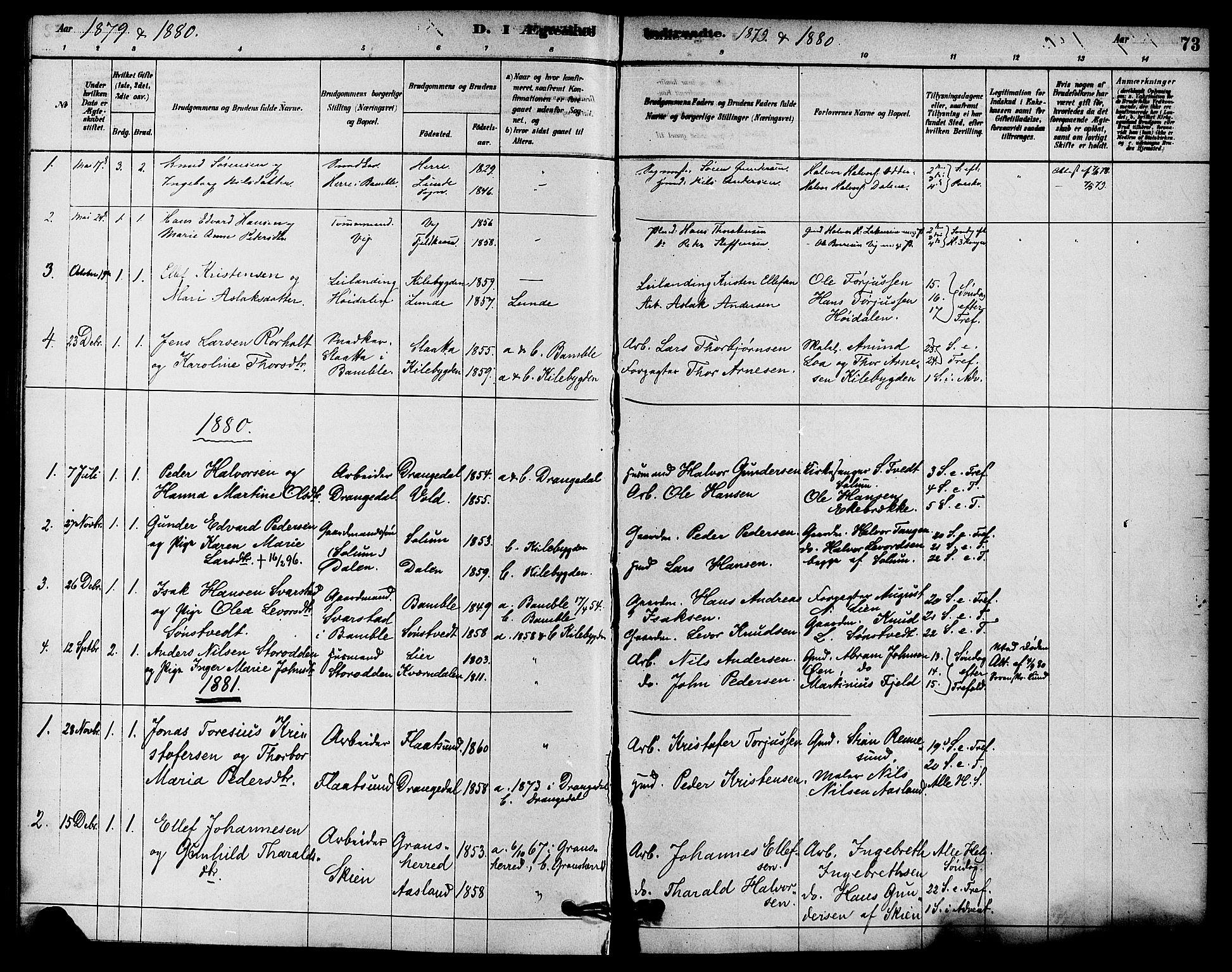 SAKO, Solum kirkebøker, F/Fc/L0001: Ministerialbok nr. III 1, 1877-1891, s. 73