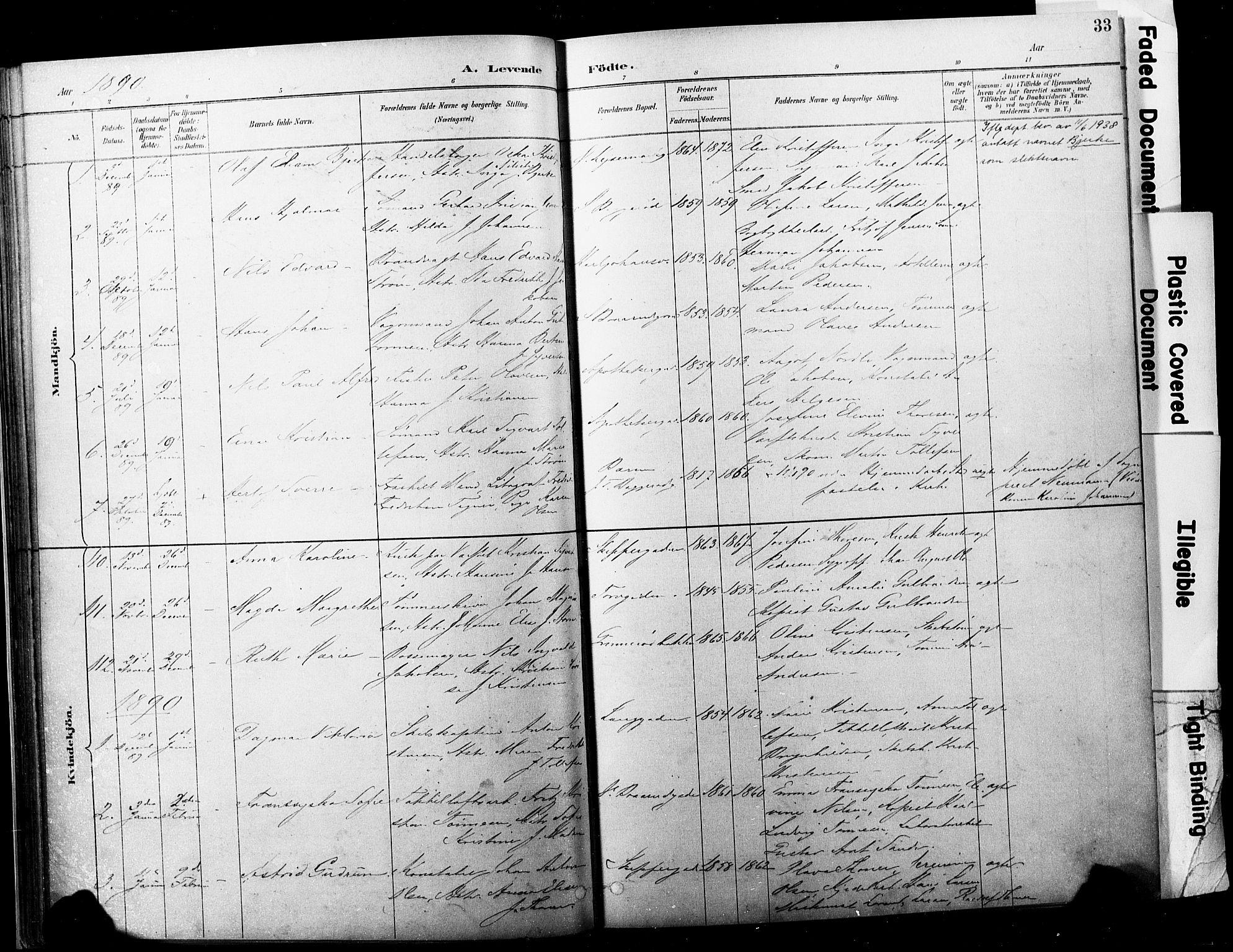 SAKO, Horten kirkebøker, F/Fa/L0004: Ministerialbok nr. 4, 1888-1895, s. 33