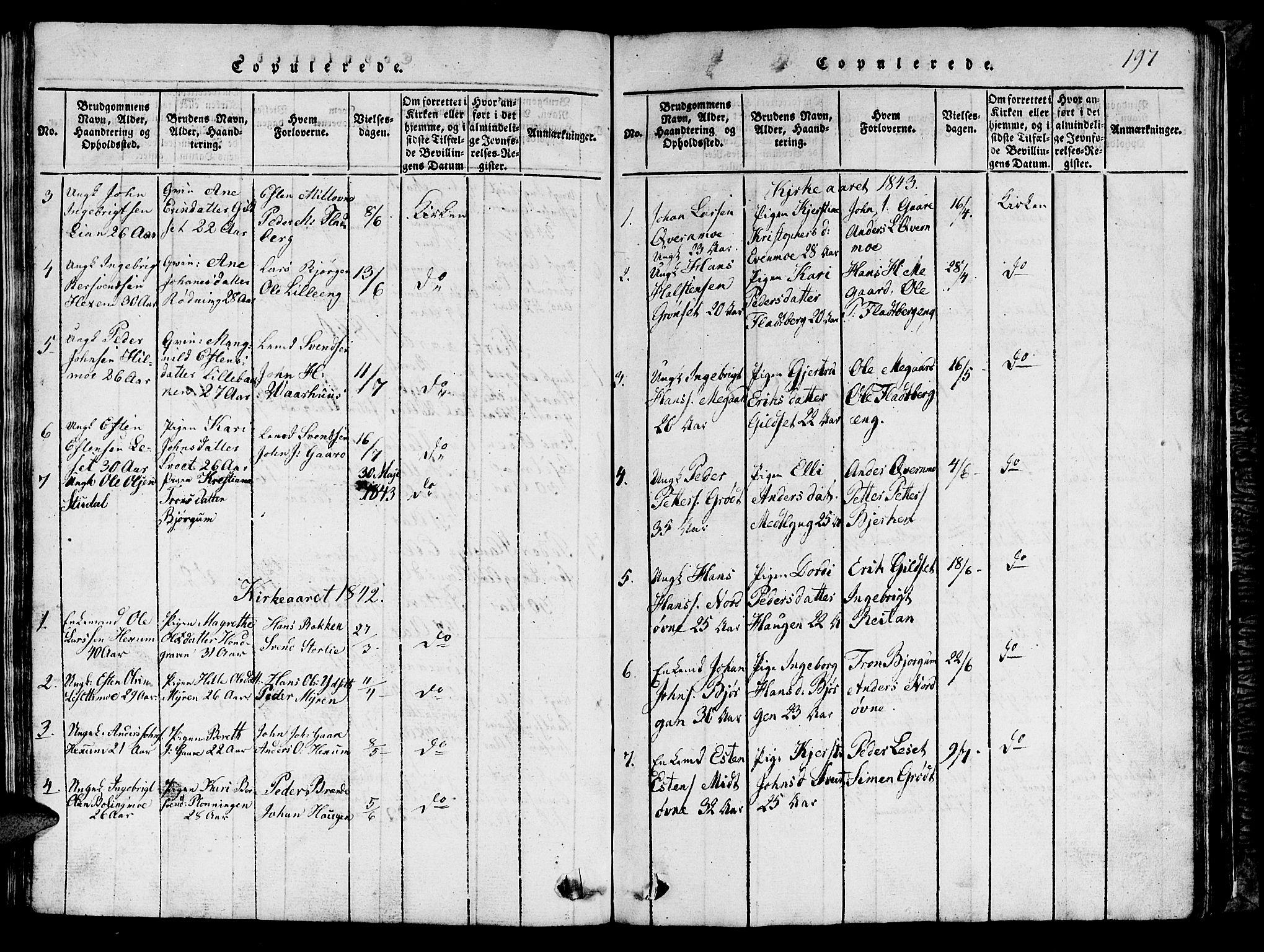 SAT, Ministerialprotokoller, klokkerbøker og fødselsregistre - Sør-Trøndelag, 685/L0976: Klokkerbok nr. 685C01, 1817-1878, s. 197