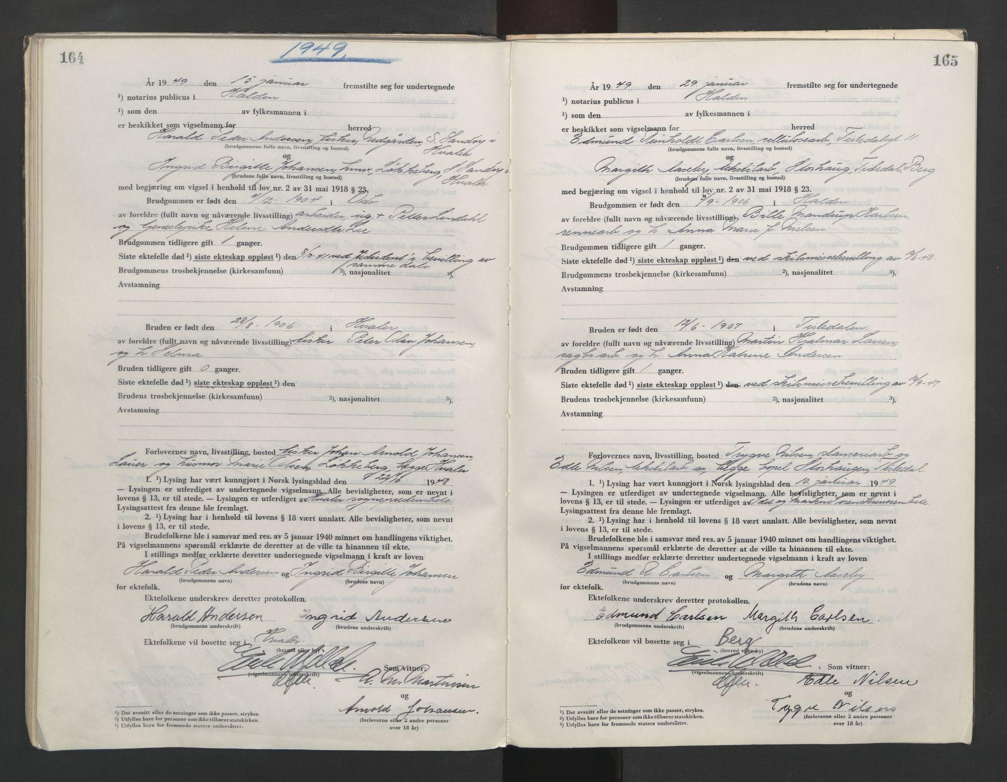 SAO, Idd og Marker sorenskriveri, L/Lc/L0001: Vigselsbøker, 1945-1949, s. 164-165
