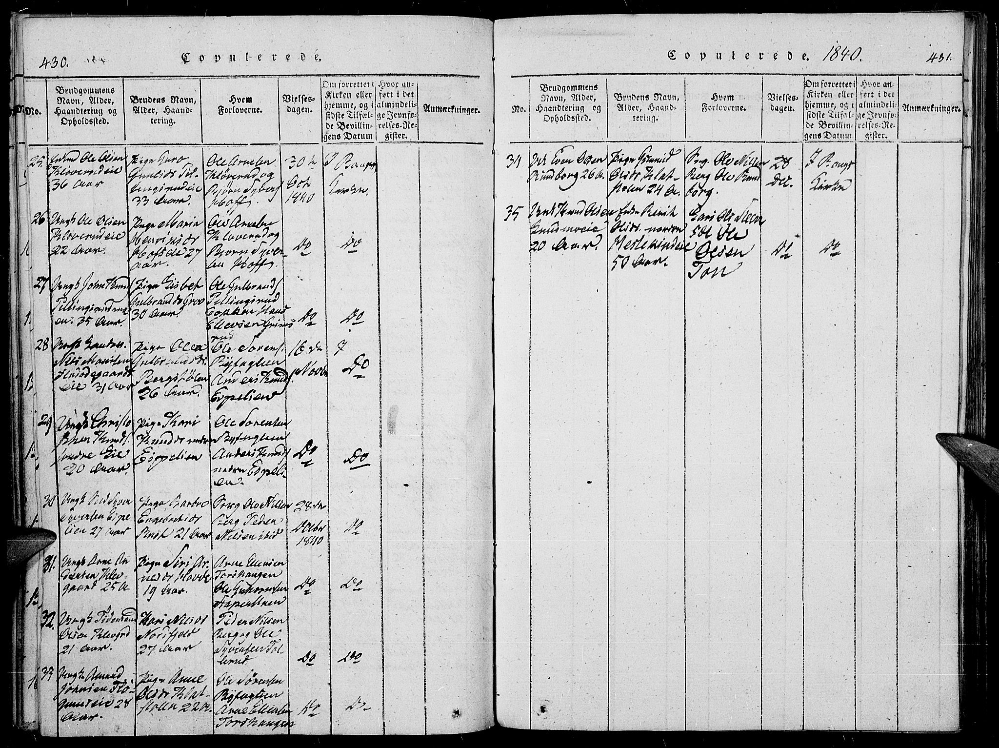 SAH, Sør-Aurdal prestekontor, Ministerialbok nr. 3, 1825-1840, s. 430-431