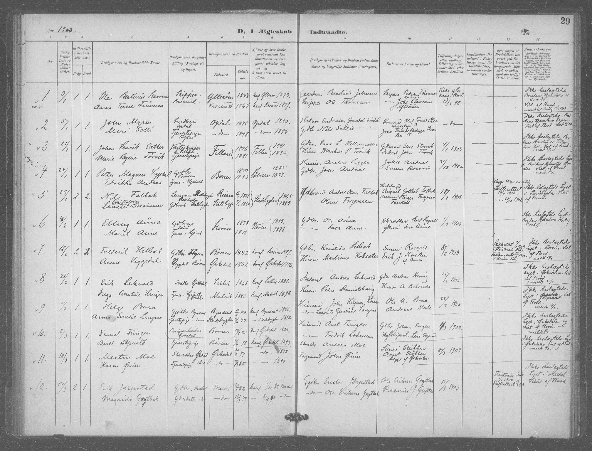 SAT, Ministerialprotokoller, klokkerbøker og fødselsregistre - Sør-Trøndelag, 601/L0077: Residerende kapellans bok nr. 601B10, 1900-1907, s. 29