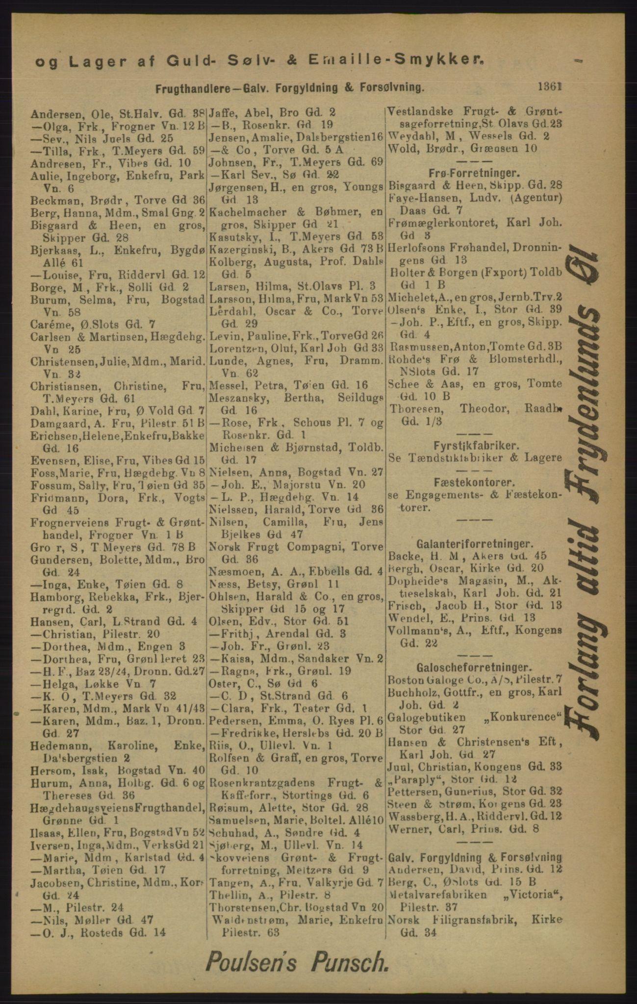 RA, Kristiania adressebok (publikasjon)*, 1905, s. 1361