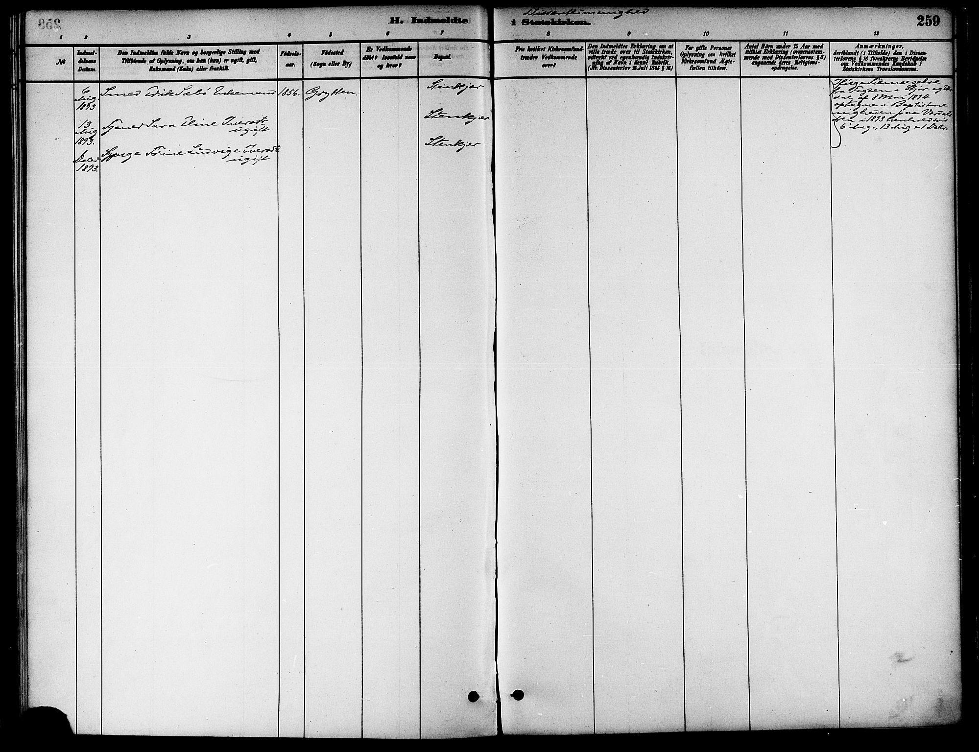 SAT, Ministerialprotokoller, klokkerbøker og fødselsregistre - Nord-Trøndelag, 739/L0371: Ministerialbok nr. 739A03, 1881-1895, s. 259