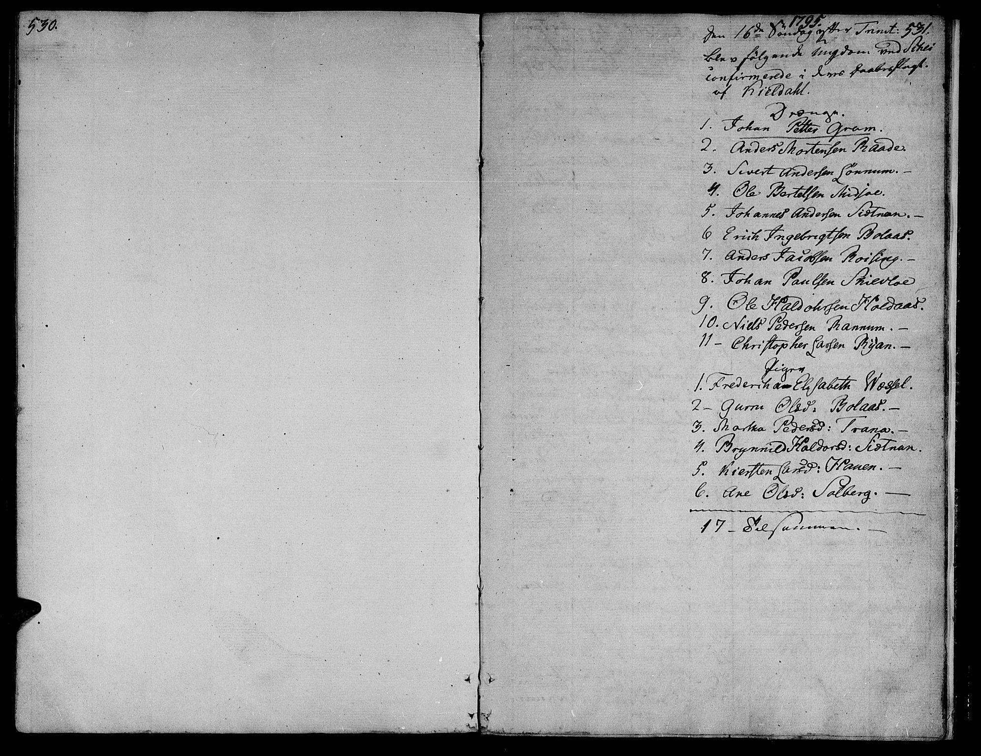 SAT, Ministerialprotokoller, klokkerbøker og fødselsregistre - Nord-Trøndelag, 735/L0332: Ministerialbok nr. 735A03, 1795-1816, s. 530-531